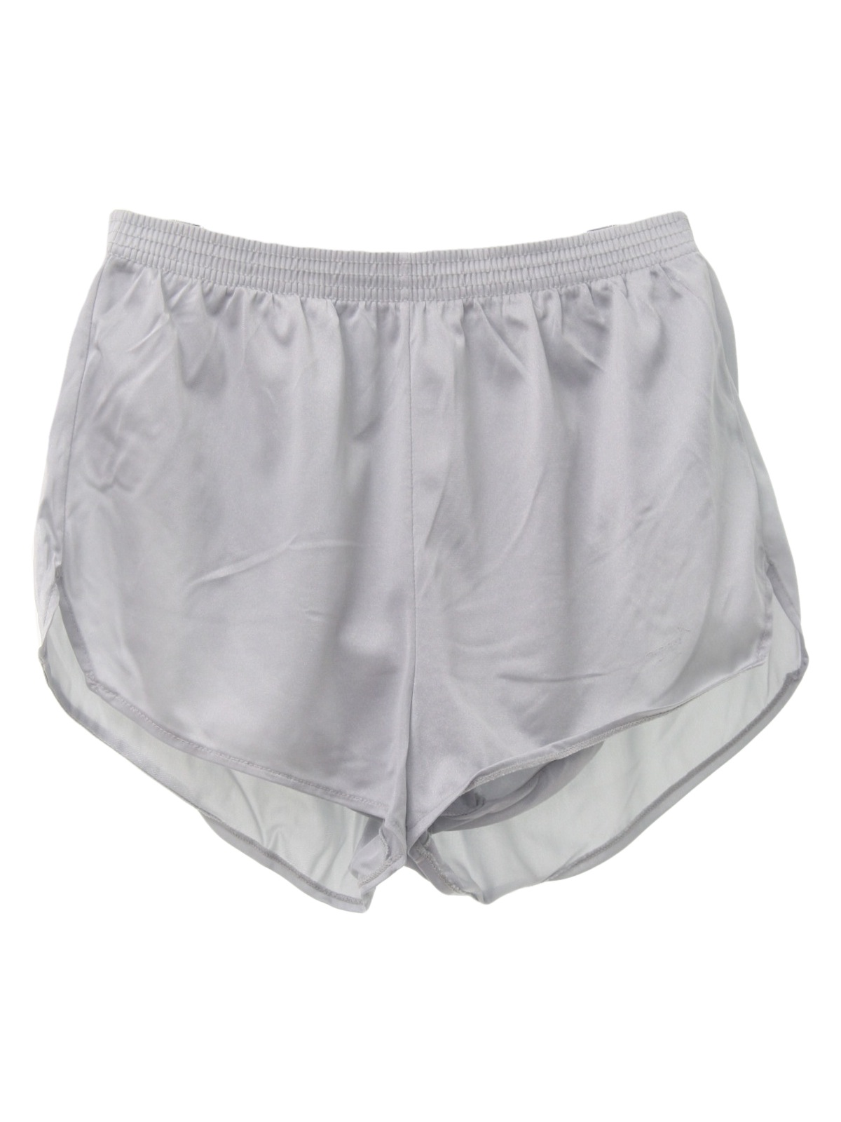 80 u0026 39 s care label shorts  80s -care label- mens shiny silver background nylon on nylon