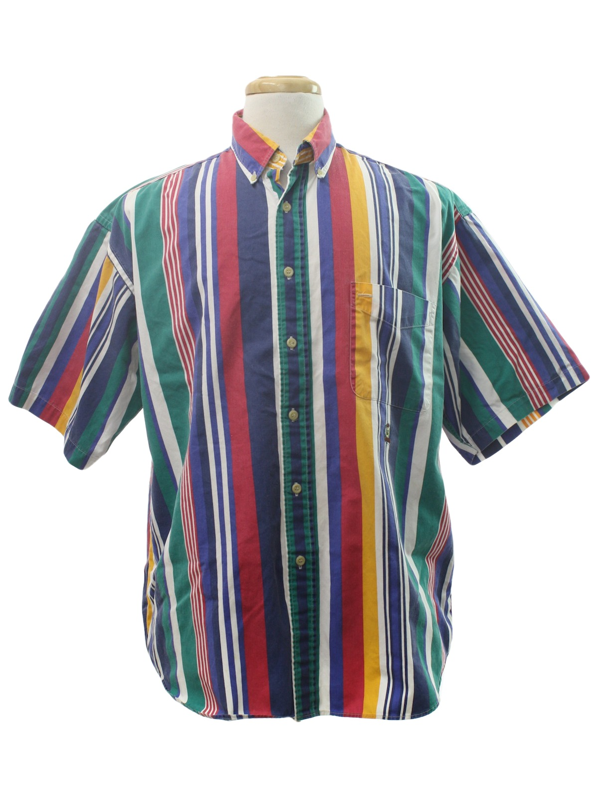 a547f038c Vintage 1980's Shirt: 80s -Good Guys- Mens multi colored background cotton  cuffless short sleeve button up front print shirt with vertical stripes in  green, ...