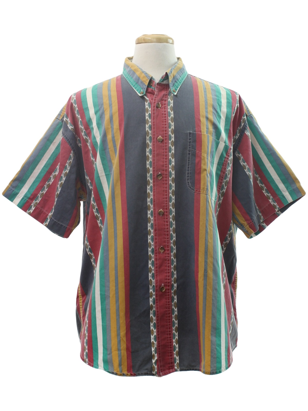 Vintage 80s shirt 80s st johns bay mens multi colored for Wine colored mens dress shirts