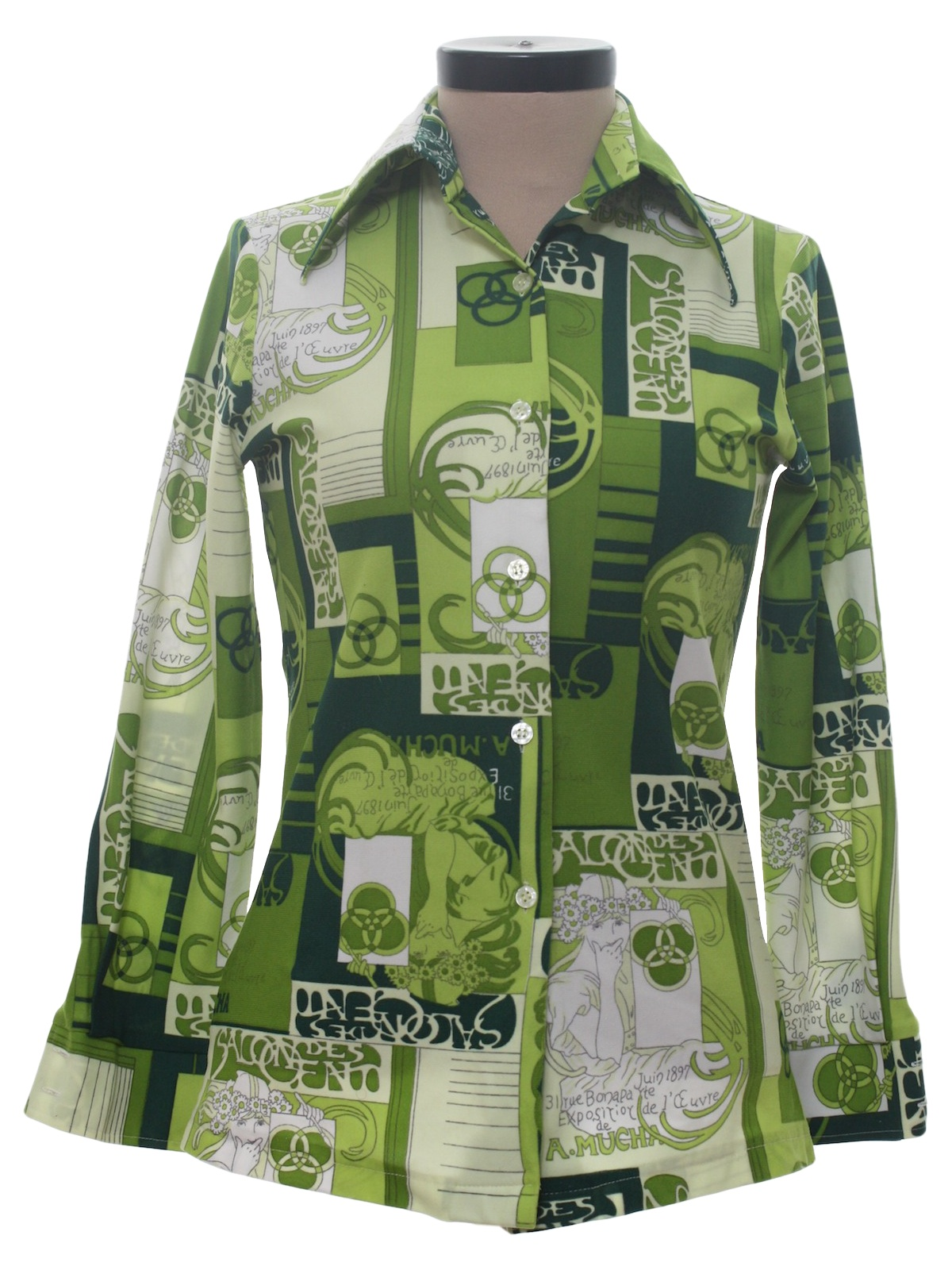 Retro Seventies Print Disco Shirt 70s Amy Barr Womens Green On