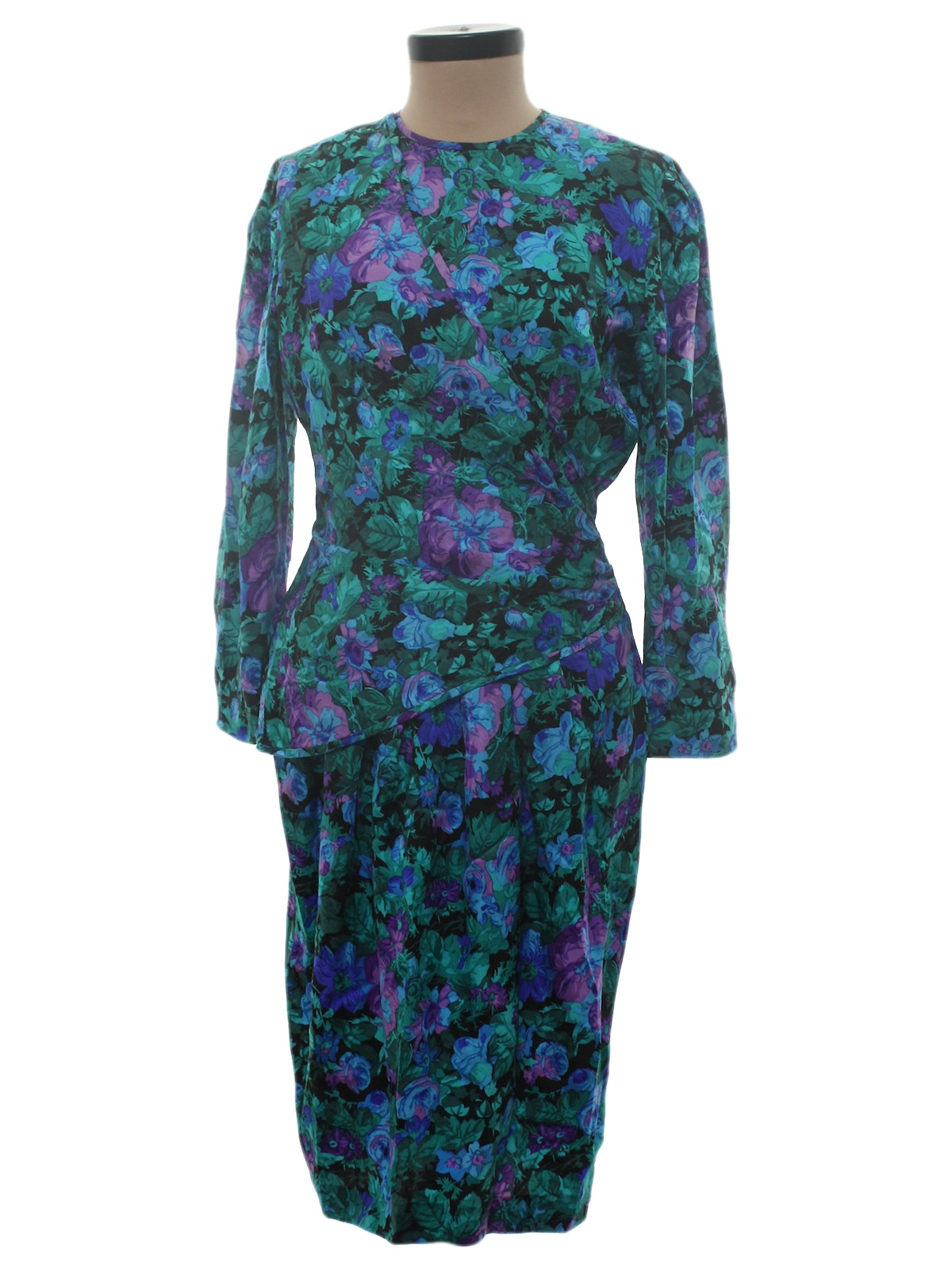 Vintage 80s Cocktail Dress: 80s -Maggy London- Womens black, royal ...