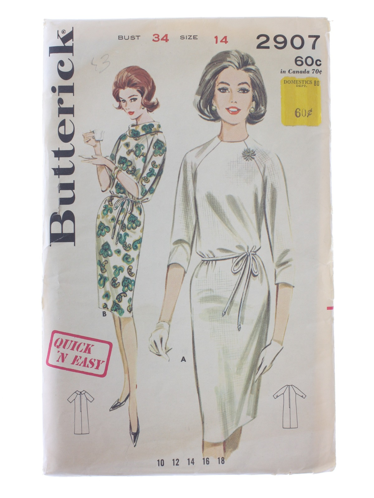 Retro Sixties Sewing Pattern: 1963 -Butterick Pattern No. 2907 ...