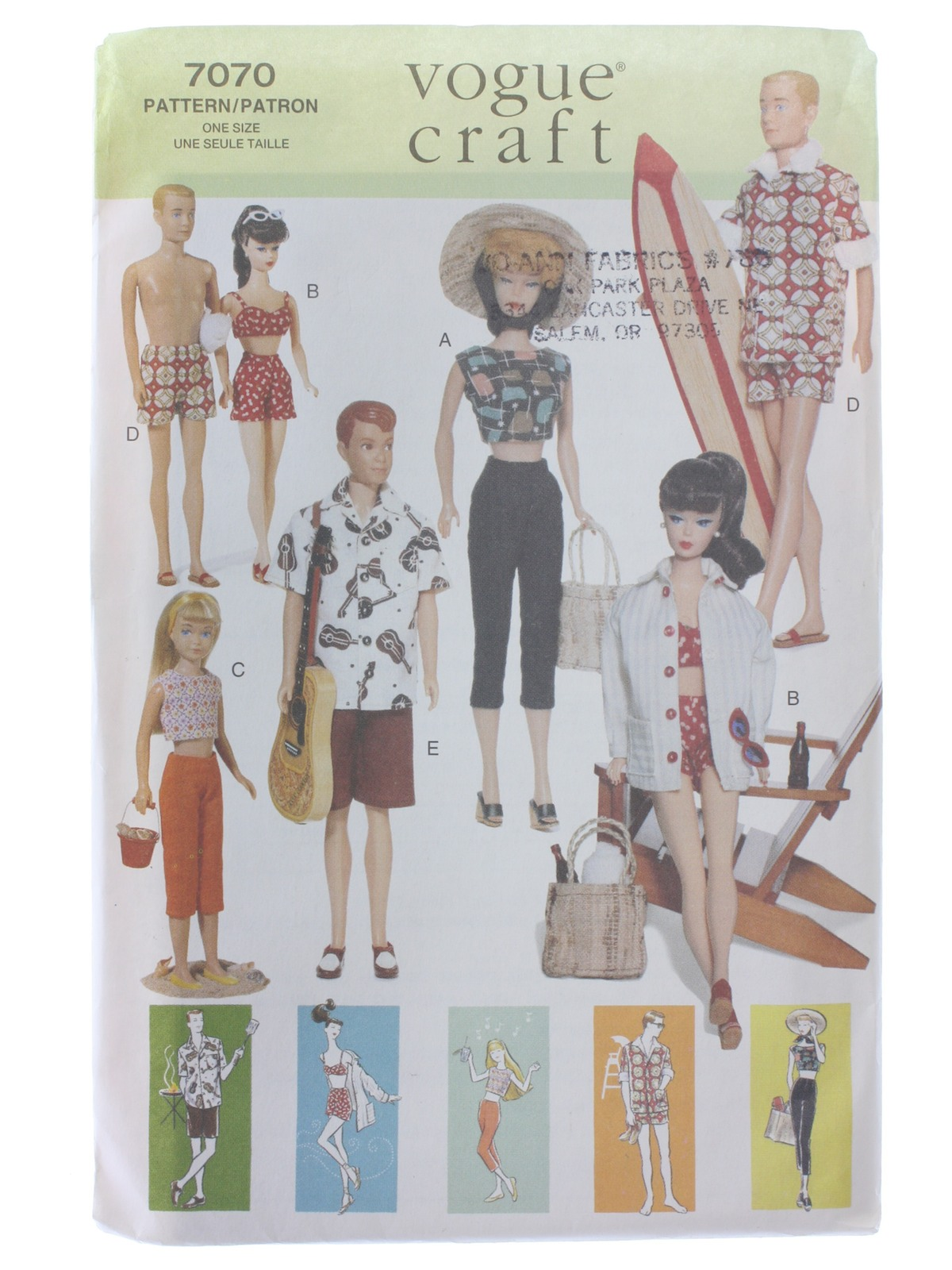 1990's Vogue Craft Pattern No  7070 Craft Doll Pattern