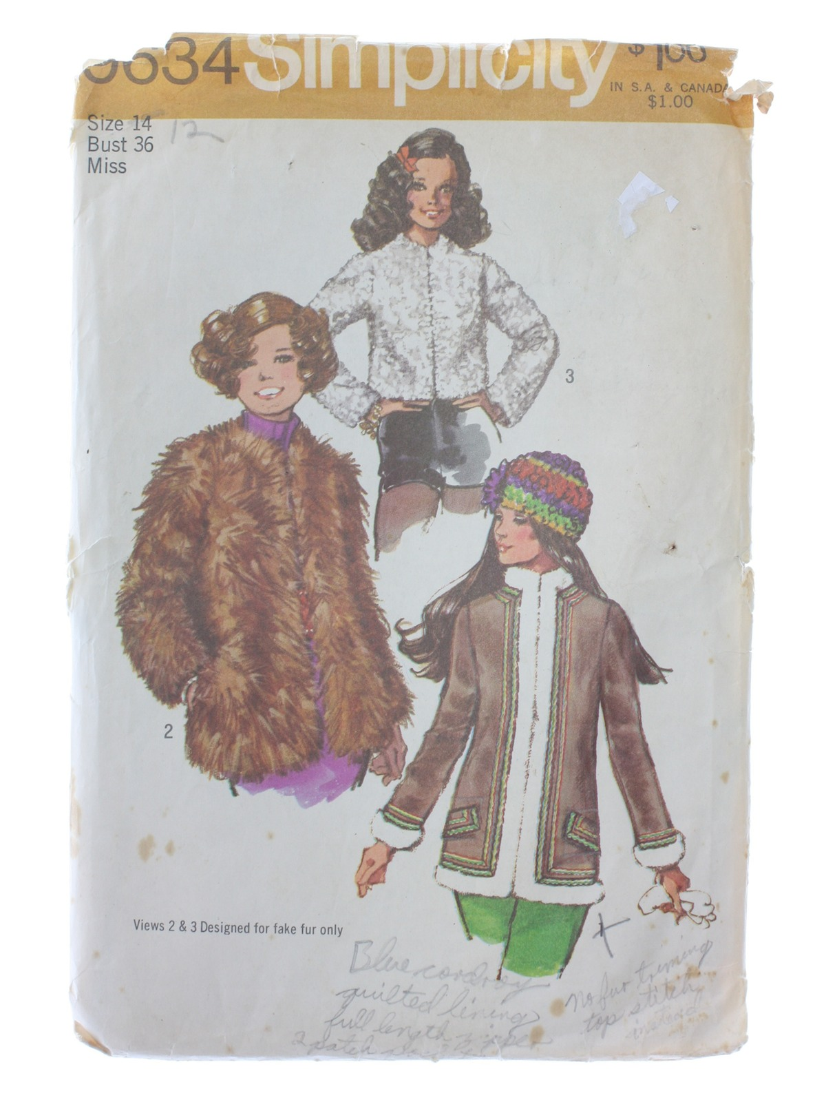 a6bb81285d6 1970 s Vintage Simplicity Pattern No. 9634 Sewing Pattern  1971 ...