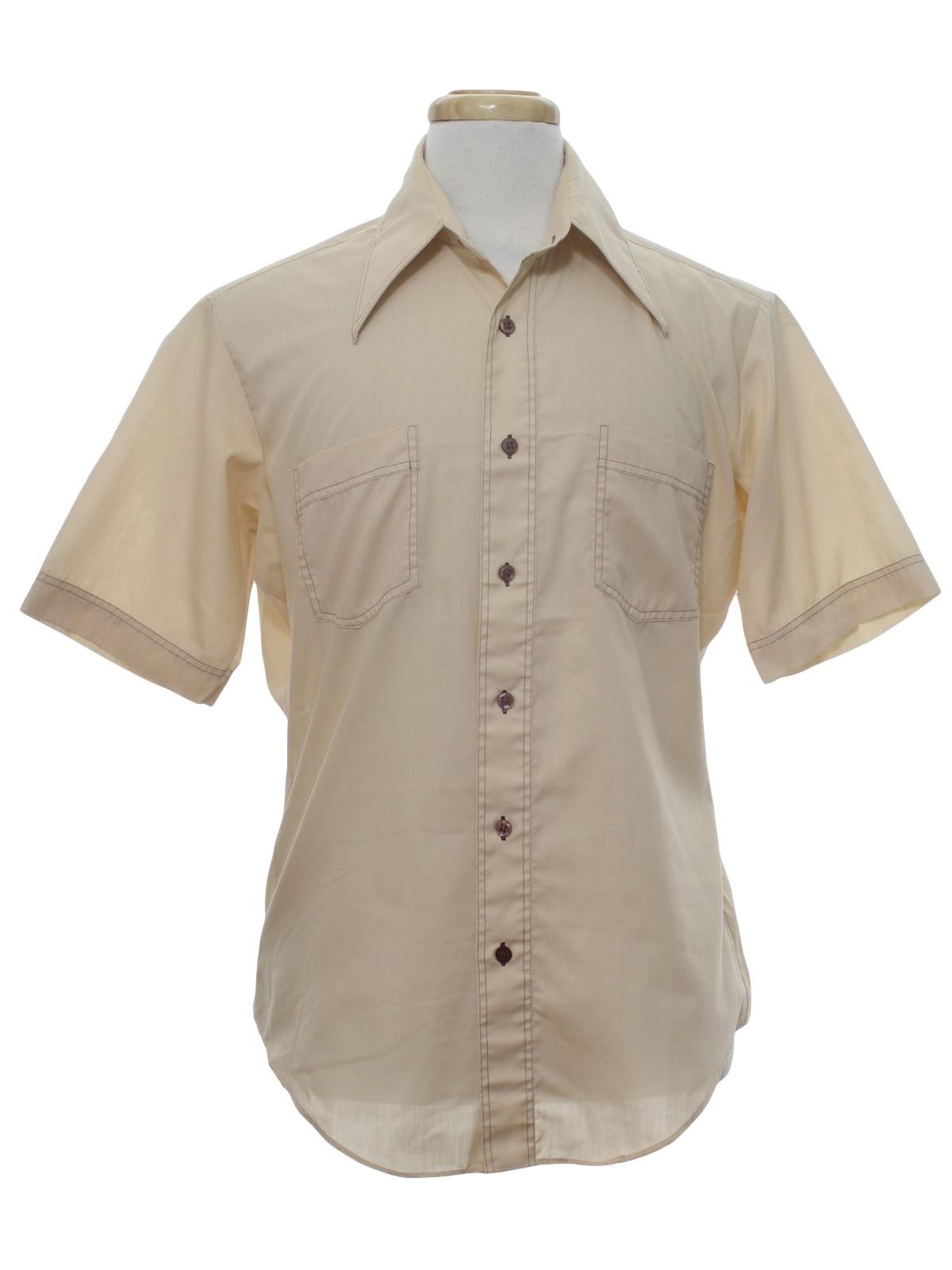 1970 39 s vintage kmart shirt 70s kmart mens tan for Kmart button up shirts