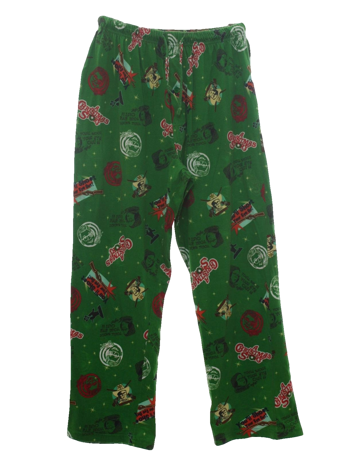 nineties christmas pants to wear with your ugly christmas sweater 90s a christmas story movie unisex green background with red beige white blacklight