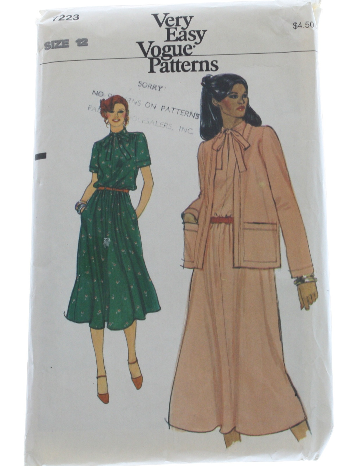 1980 S Retro Sewing Pattern 80s Vogue Pattern No 7223