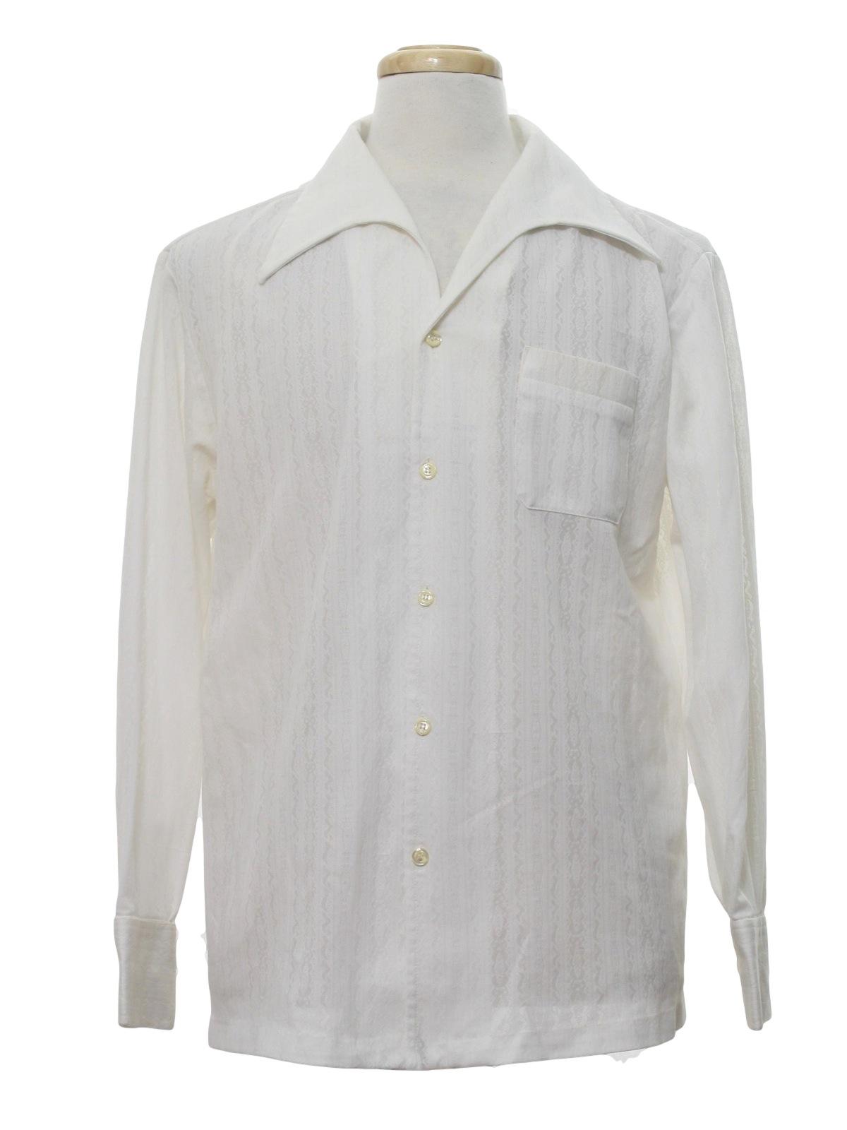 mr b seventies vintage disco shirt 70s mr b mens white background subtle vertical weaved. Black Bedroom Furniture Sets. Home Design Ideas