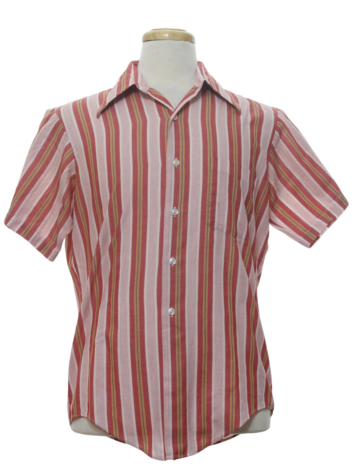 Seventies Kmart Shirt: 70s -Kmart- Mens pink background with off ...
