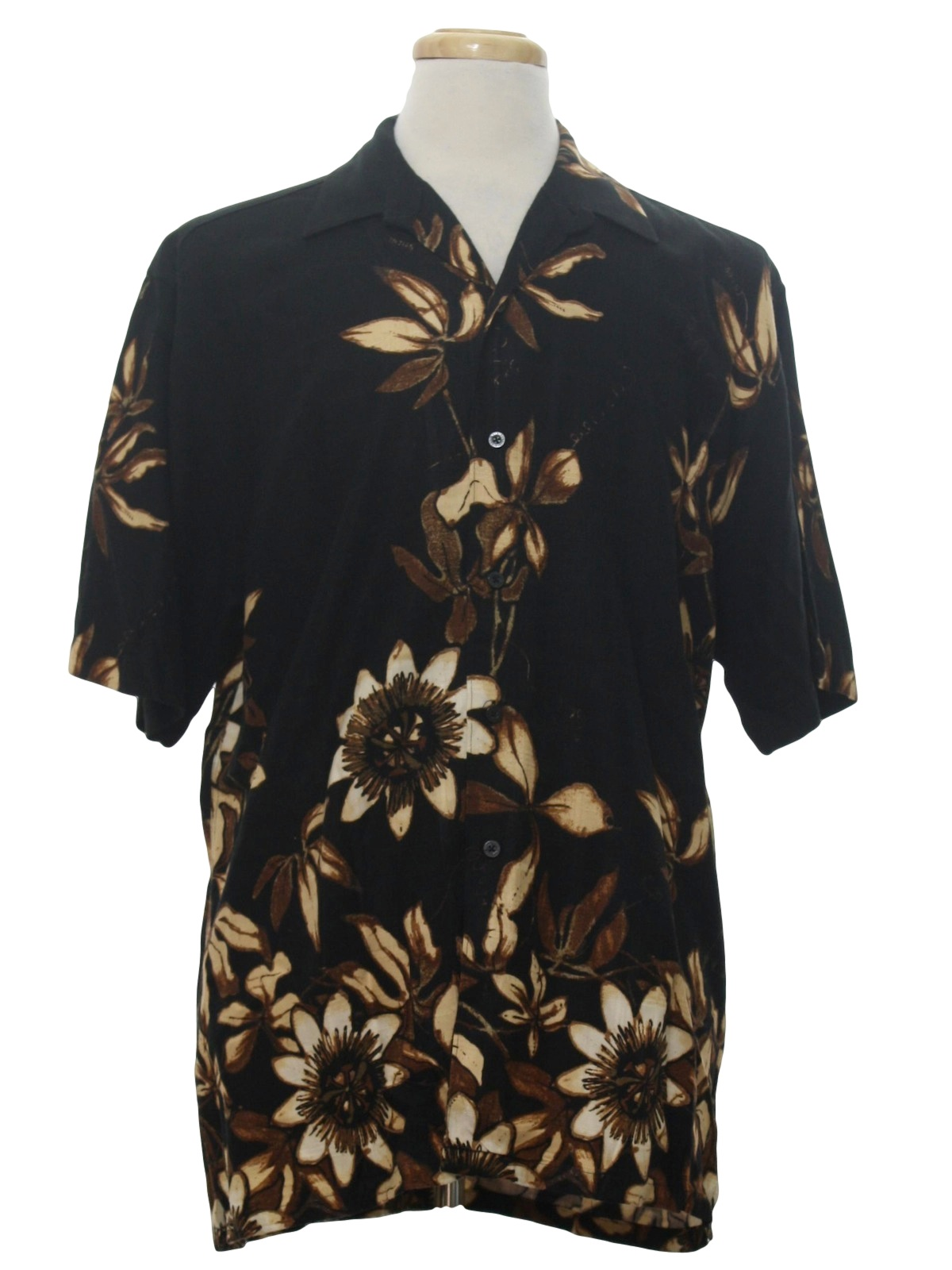 3bbd9a9bd Vintage 1990's Hawaiian Shirt: 90s -Cubavera- Mens black plaid ...