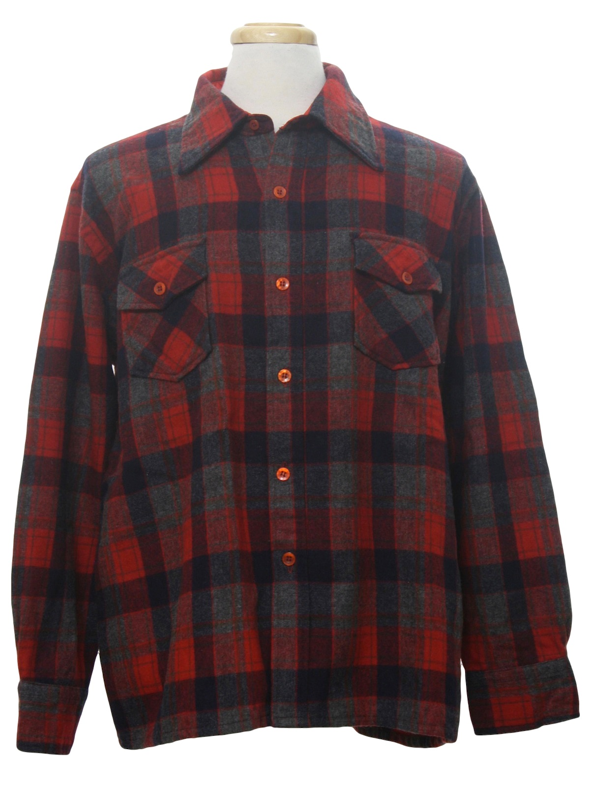 Retro seventies wool shirt 70s centura mens red for Navy blue and red flannel shirt