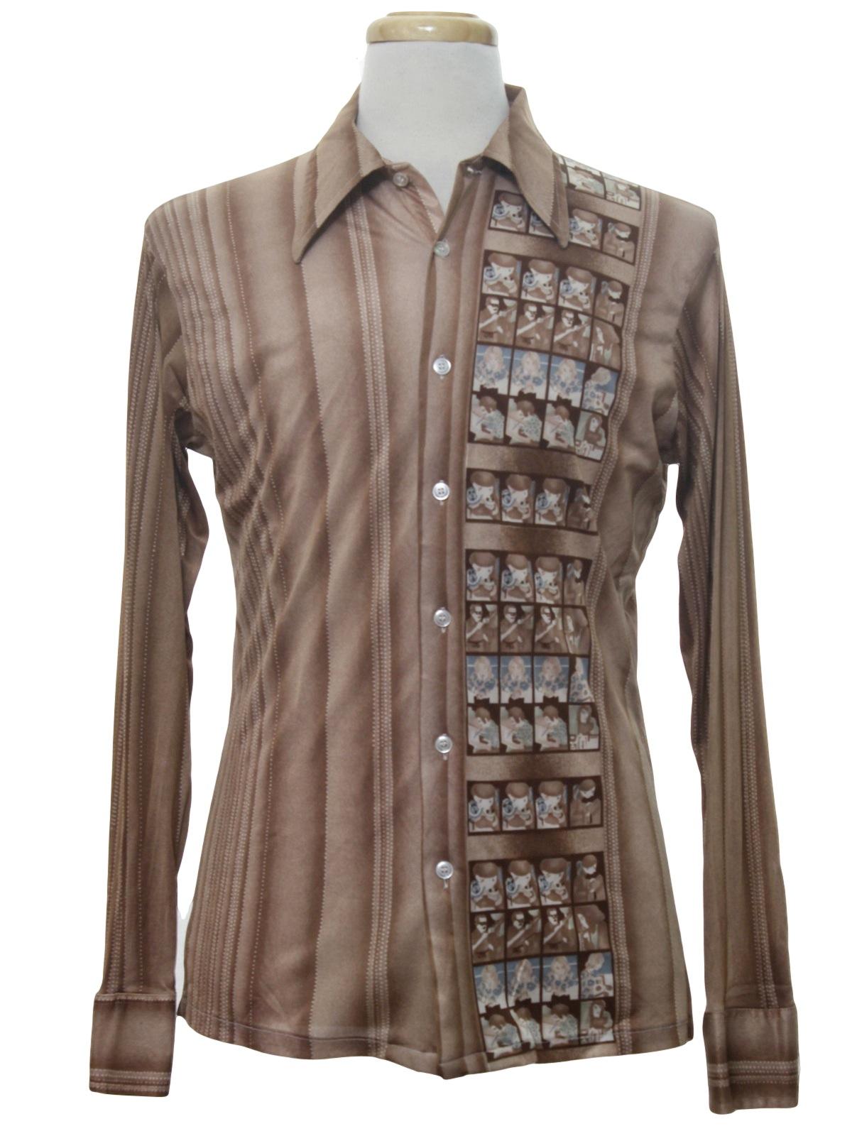 70s retro print disco shirt 70s kmart mens light brown for Kmart button up shirts