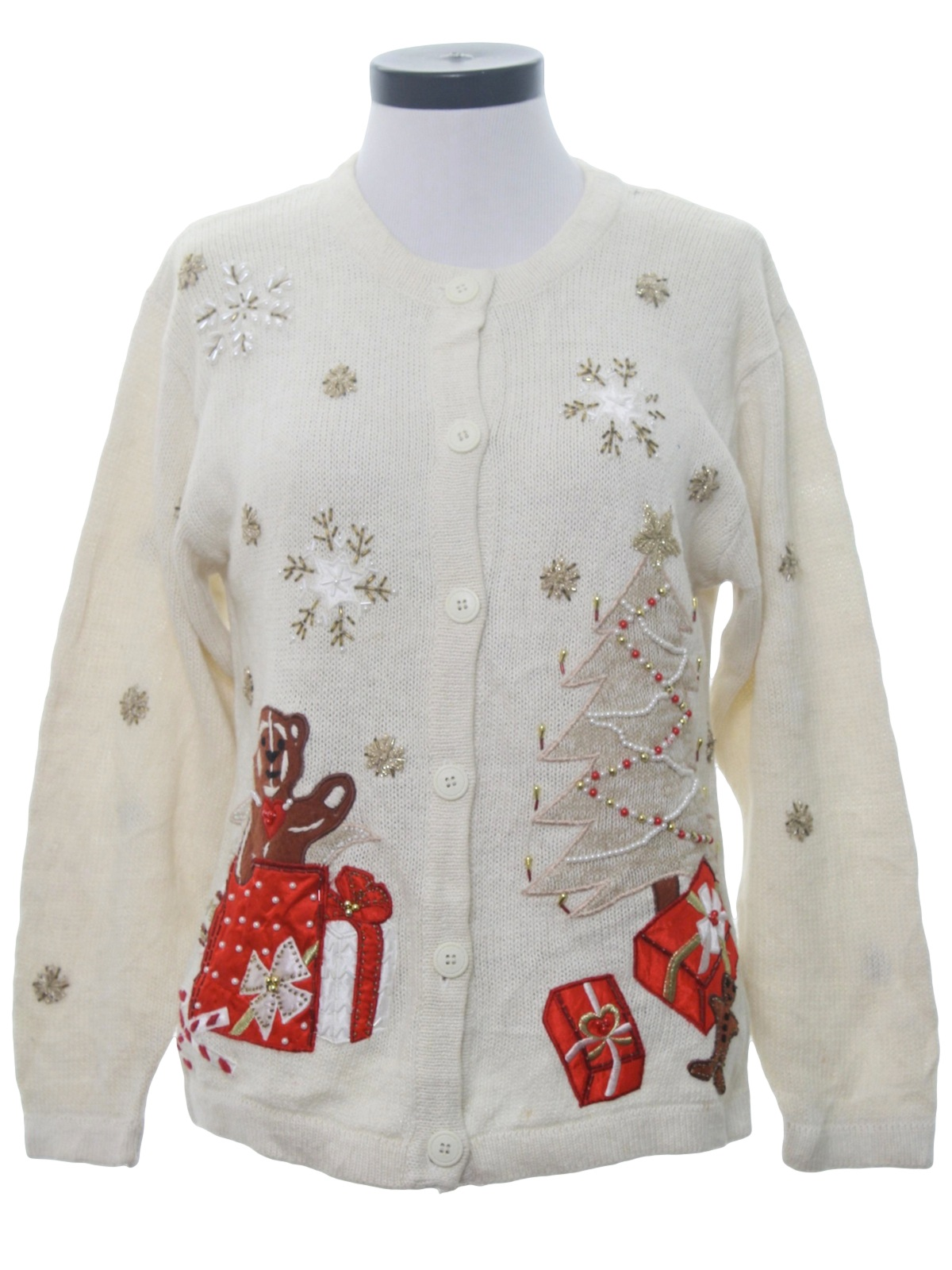Gingerbread man under tree embroidered gold and pearl beaded stars