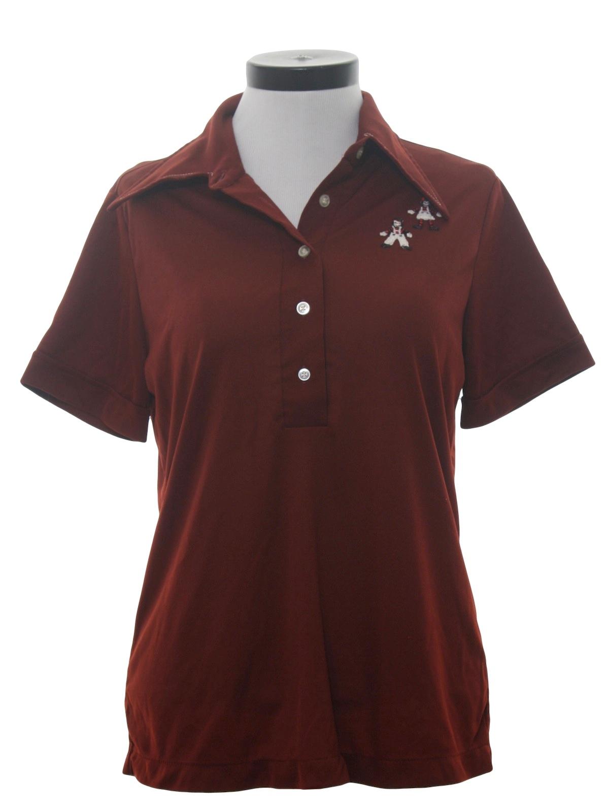 70s Vintage Shirt 70s No Label Womens Dark Wine