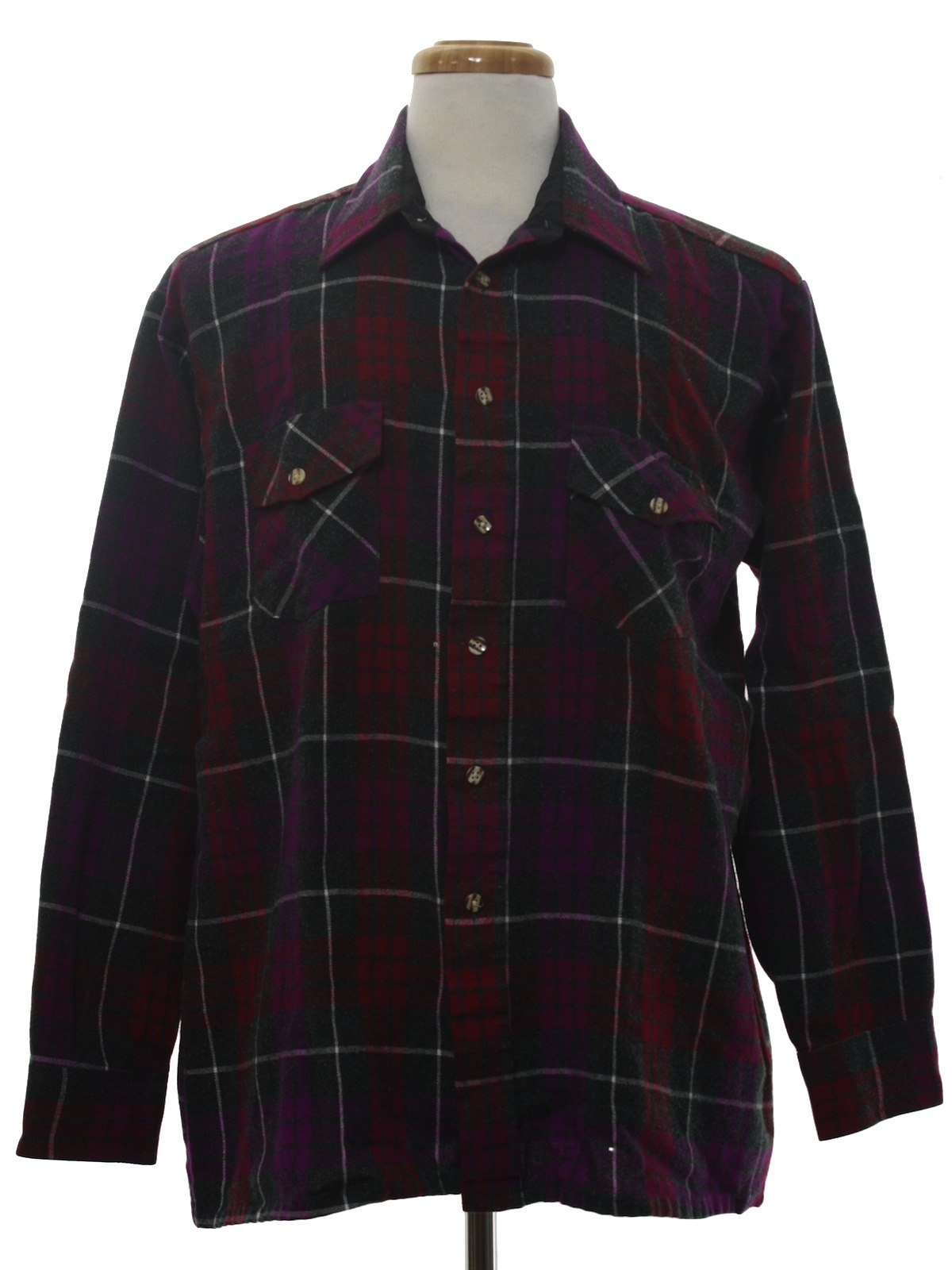 1980 39 s retro shirt 80s van heusen mens charcoal for Polyester lined flannel shirts