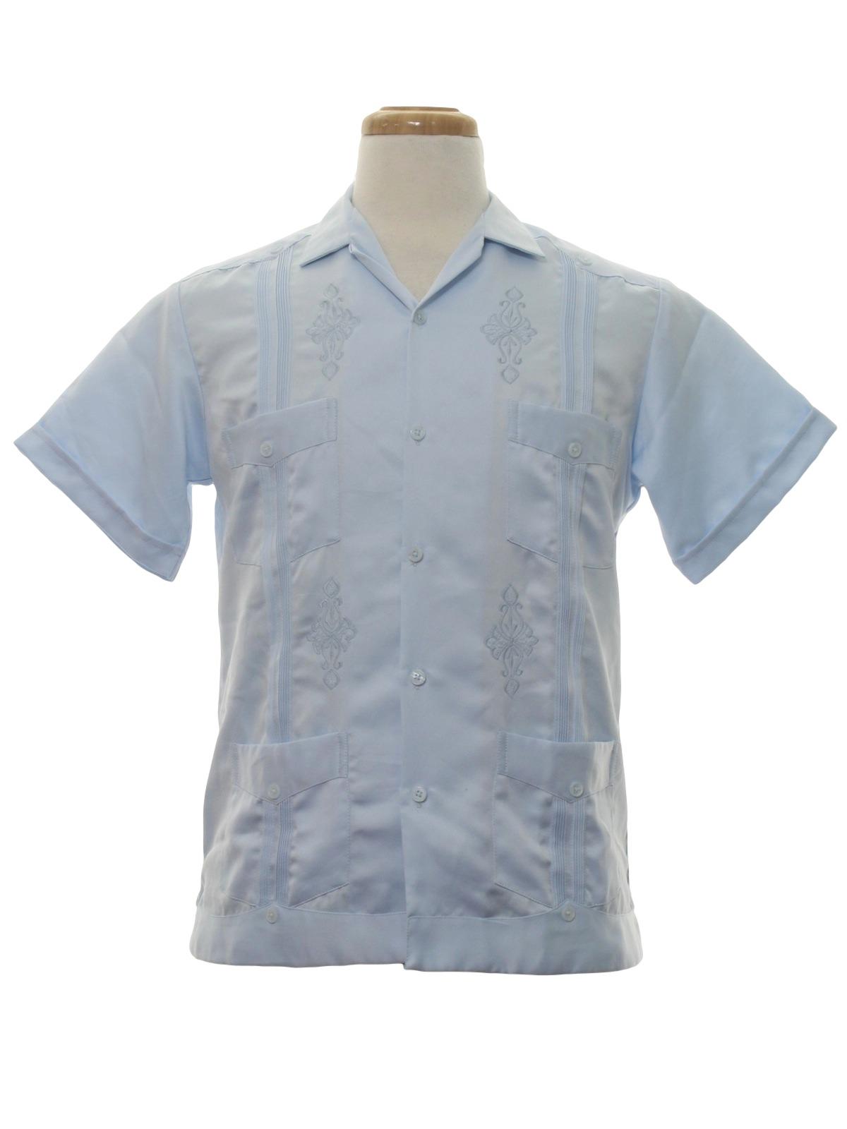 66db4c09be 80s vintage yucamex guayabera shirt 80s yucamex mens powder blue background  satin polyester short sleeve guayabera