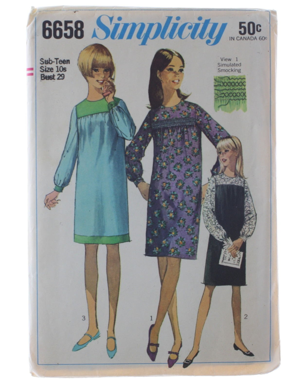 60s Retro Sewing Pattern: 1966 -Simplicity Pattern No. 6658- Womens ...