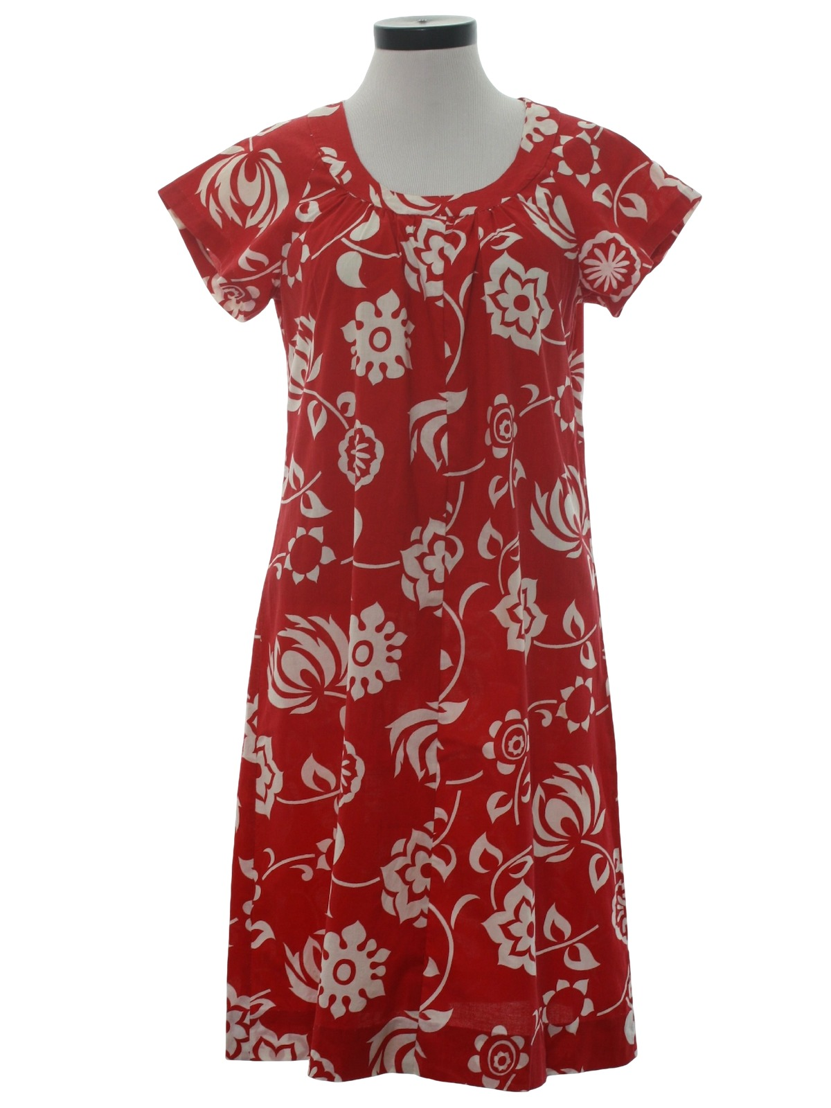 Vintage 1960 S Hawaiian Dress 60s Home Sewn Womens Red