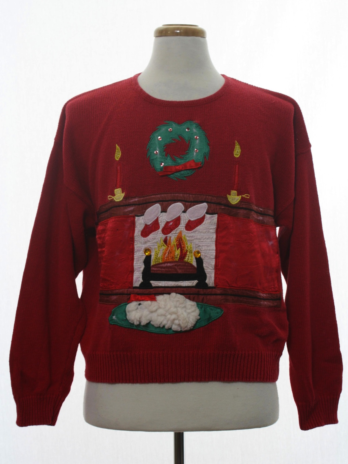 Ugly Christmas Sweater Work In Progress Unisex Red Background Cotton Pullover Longsleeve Ugly