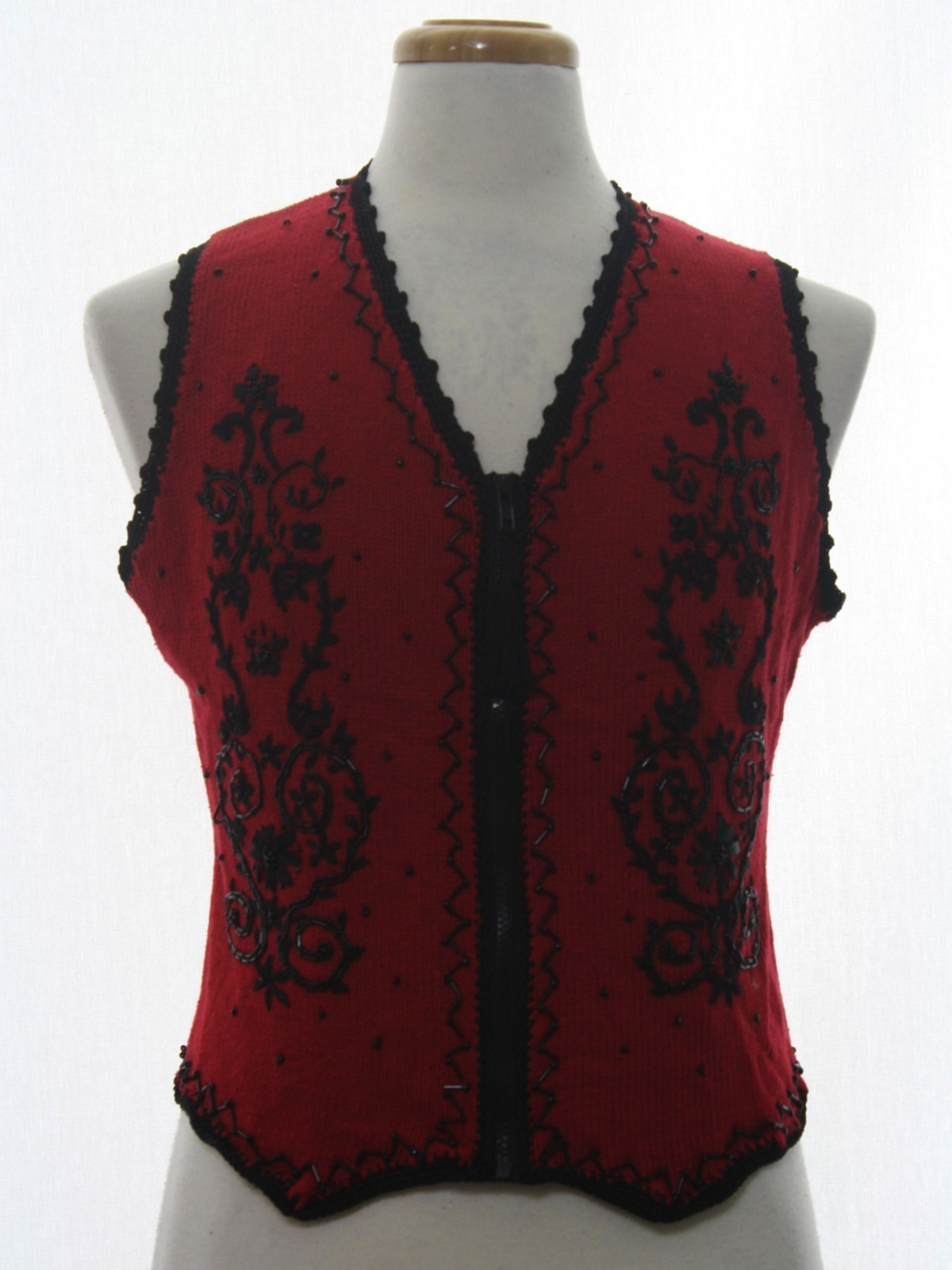 Womens Gothic Look Ugly Christmas Sweater Vest: -Kathie Lee ...