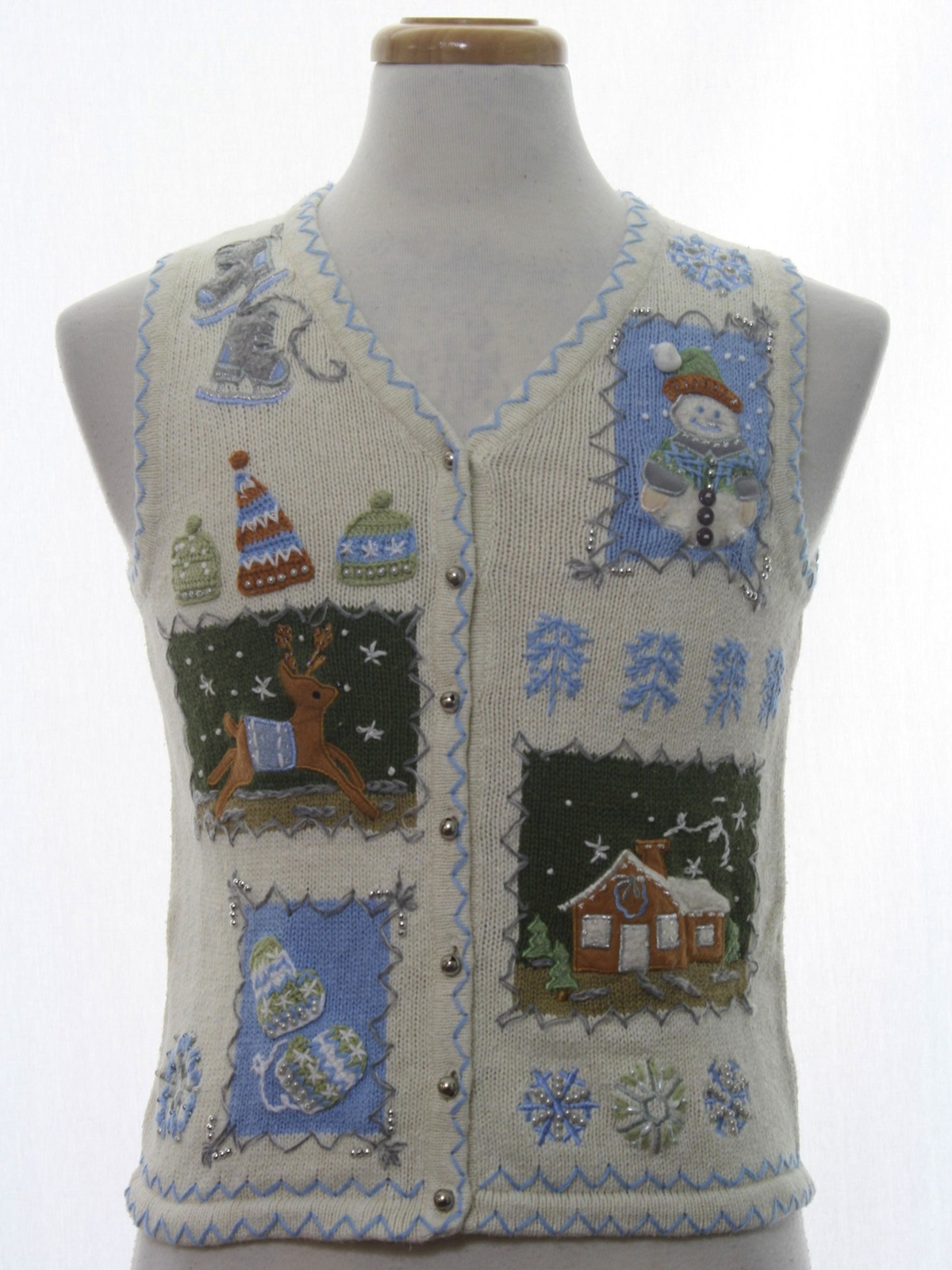 Womens Or Girls Ugly Christmas Sweater Vest White Stag