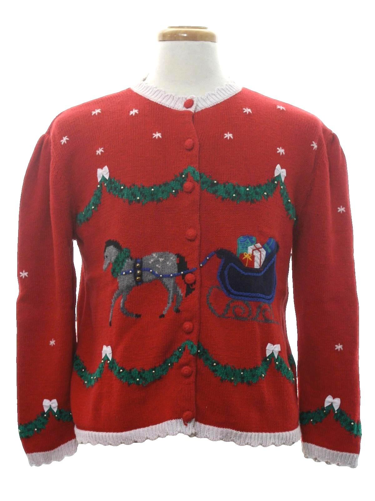Vintage Christmas Sweaters.1980 S Heartstrings Womens Vintage Ugly Christmas Sweater