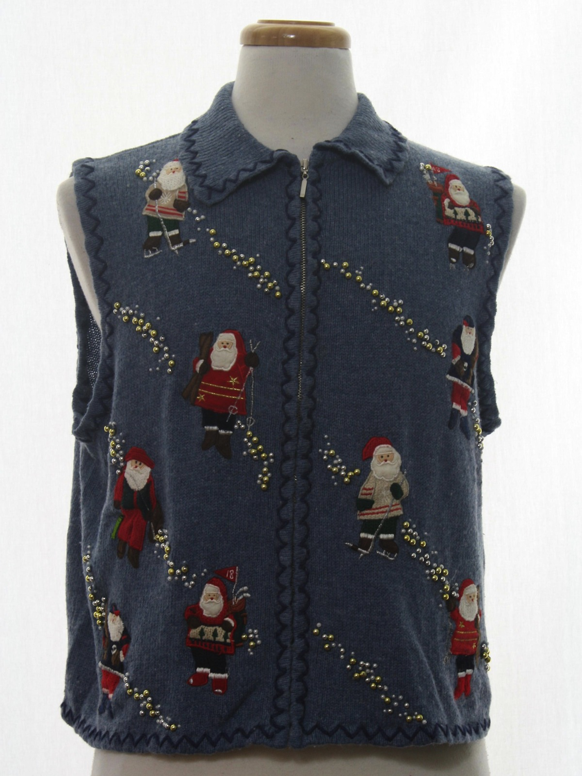 Womens ugly christmas sweater vest designers originals for Fishing christmas sweater