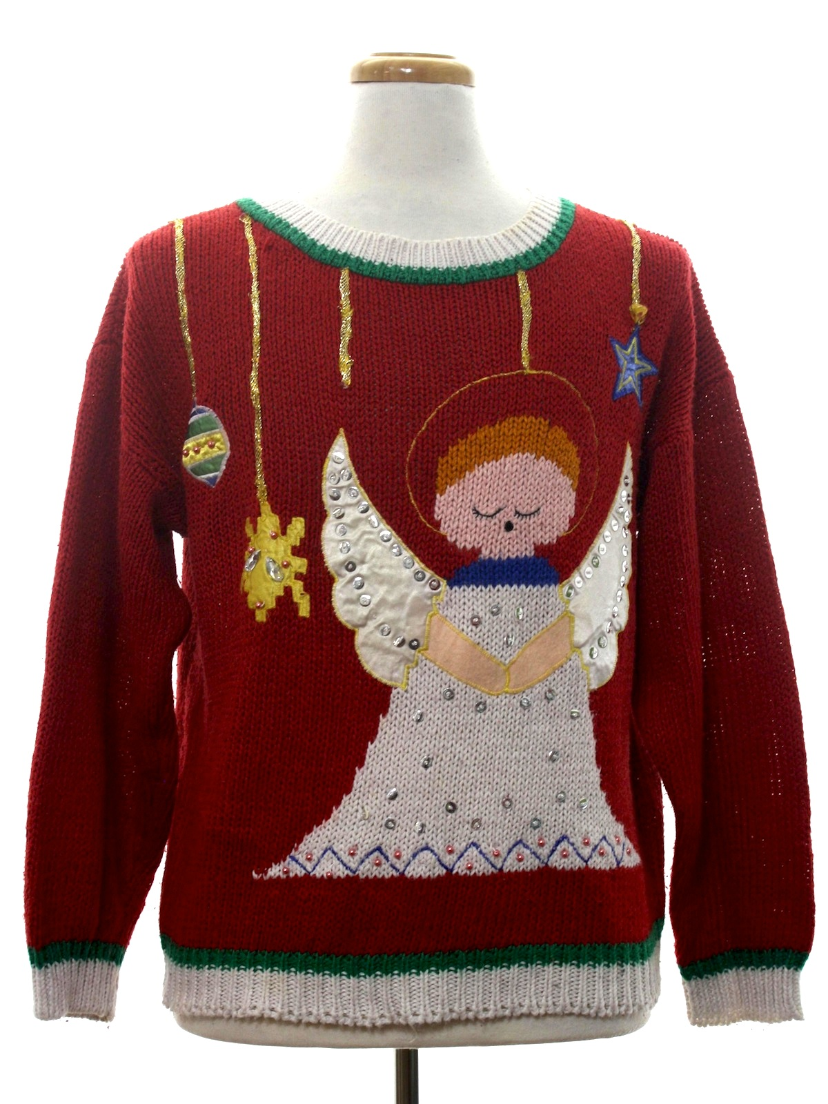 Halo Christmas Sweater.1980 S Color Cues Unisex Vintage Ugly Christmas Sweater