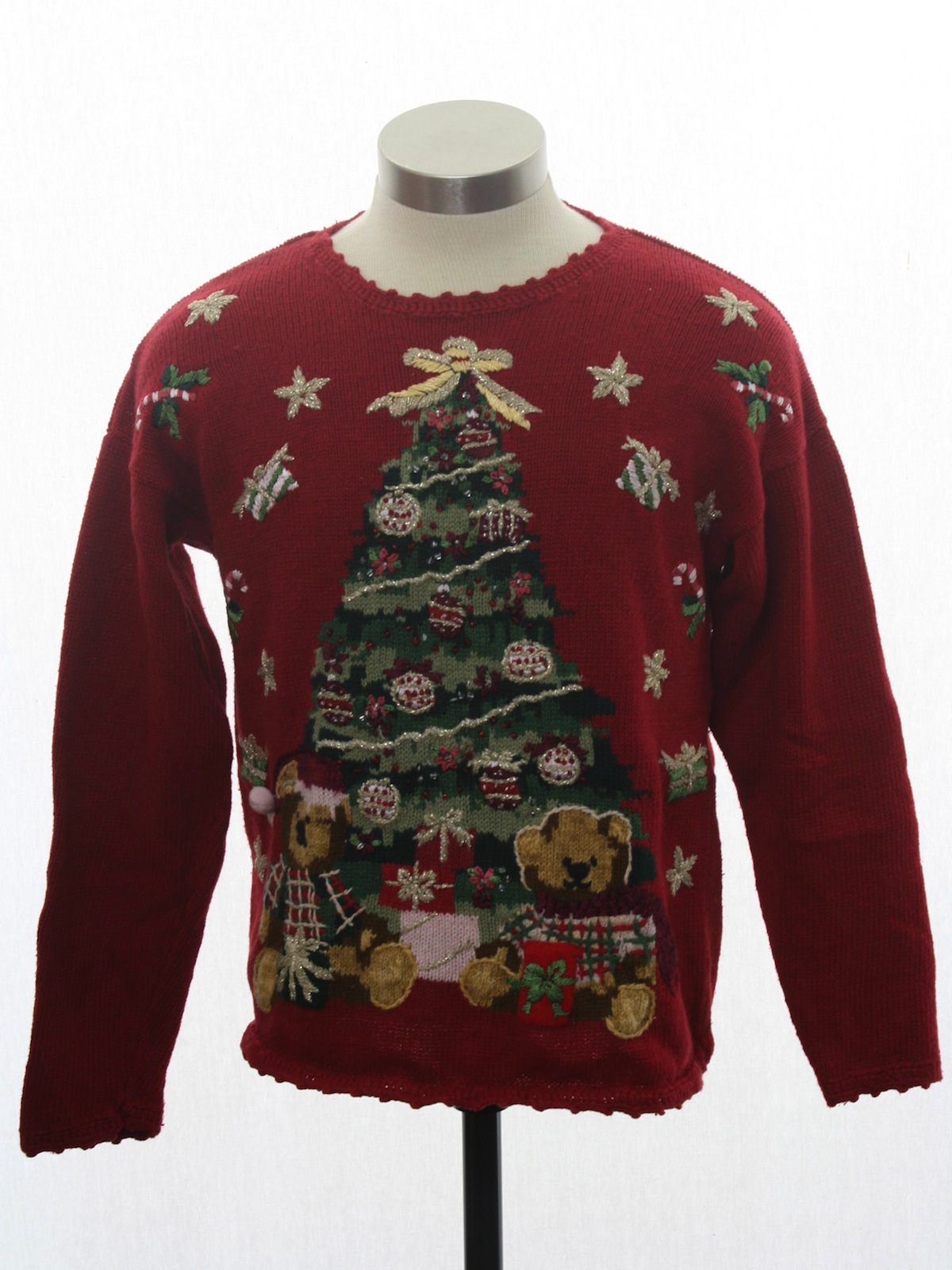 Ladies Girls Or Boys Ugly Christmas Sweater Heirloom Collectibles Petite Womens Girls Or Boys Red Background Cotton Ramie Blend Pullover Longsleeve Ugly Christmas Sweater With Round Neckline Featuring A Giant Beaded Christmas