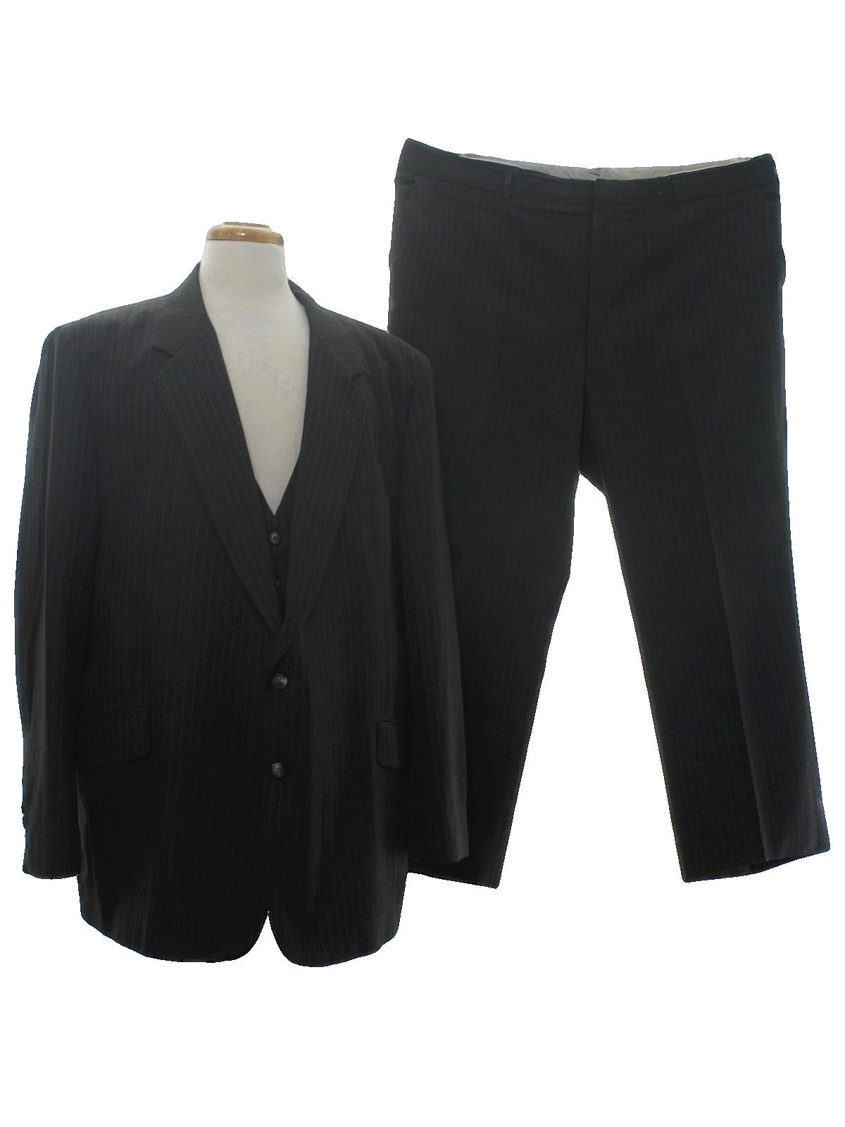 Retro Eighties Suit 80s Label Missing Mens Charcoal