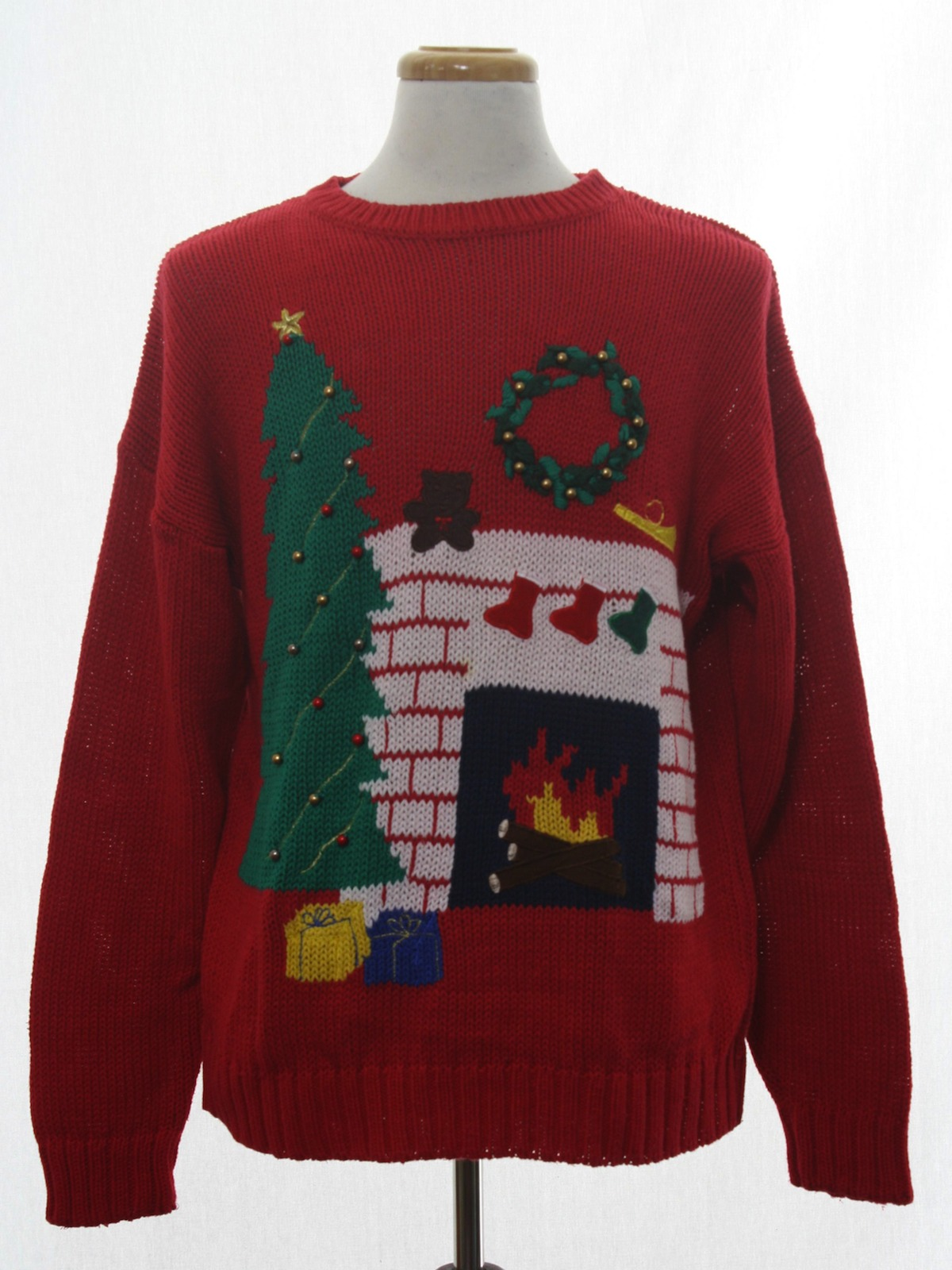 Ugly Christmas Sweater Retro Look Affinity Unisex Red Background Cotton Ramie Blend Pullover