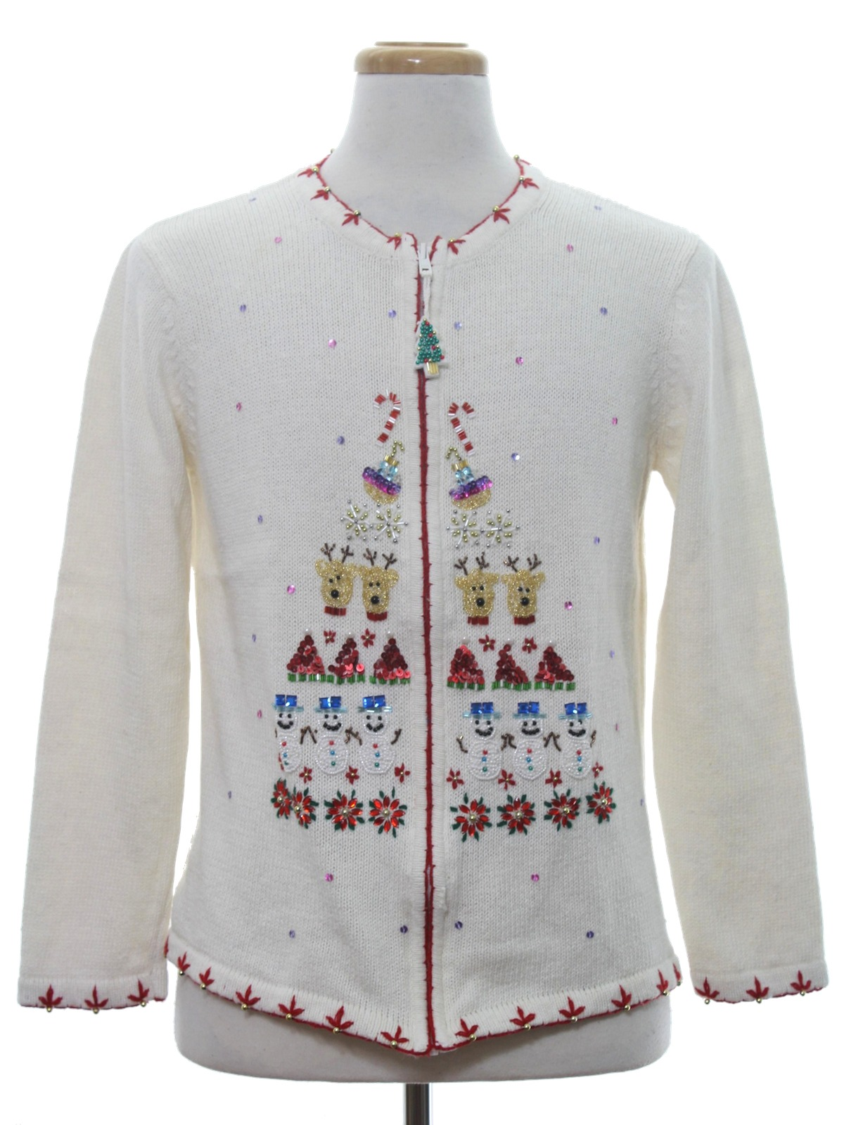 Womens Ugly Christmas Sweater: -Fabric Label- Womens winter white