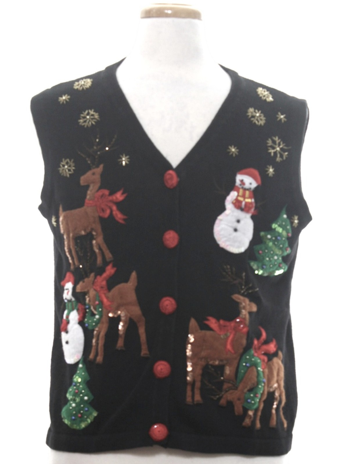 90s Christmas Sweaters.1990 S Victoria Harbour Petites Womens Vintageugly Christmas Sweater Vest