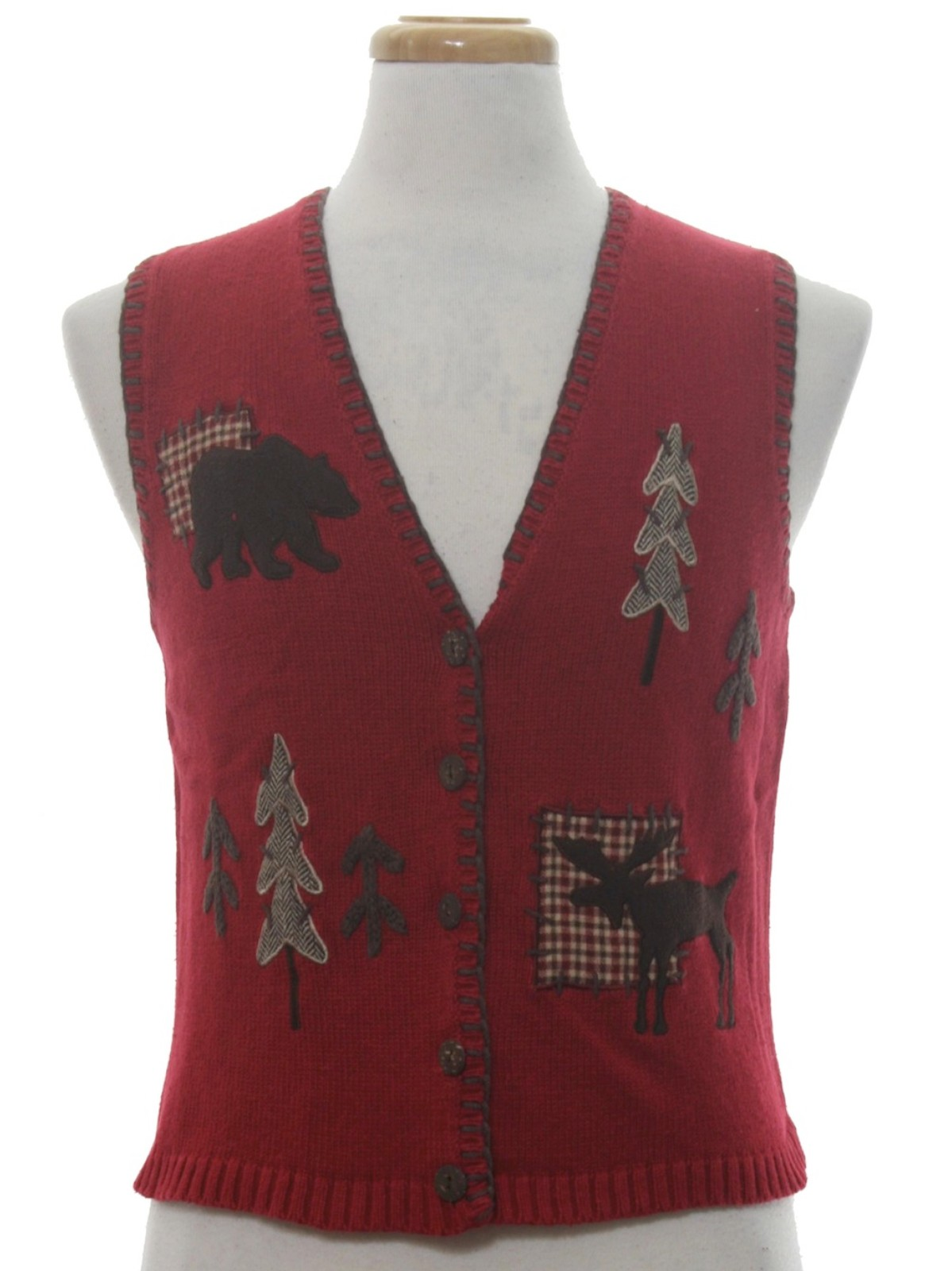 womens or girls country kitsch ugly christmas sweater vest timber lea petite womens or girls wine background cotton ramie blend button front country