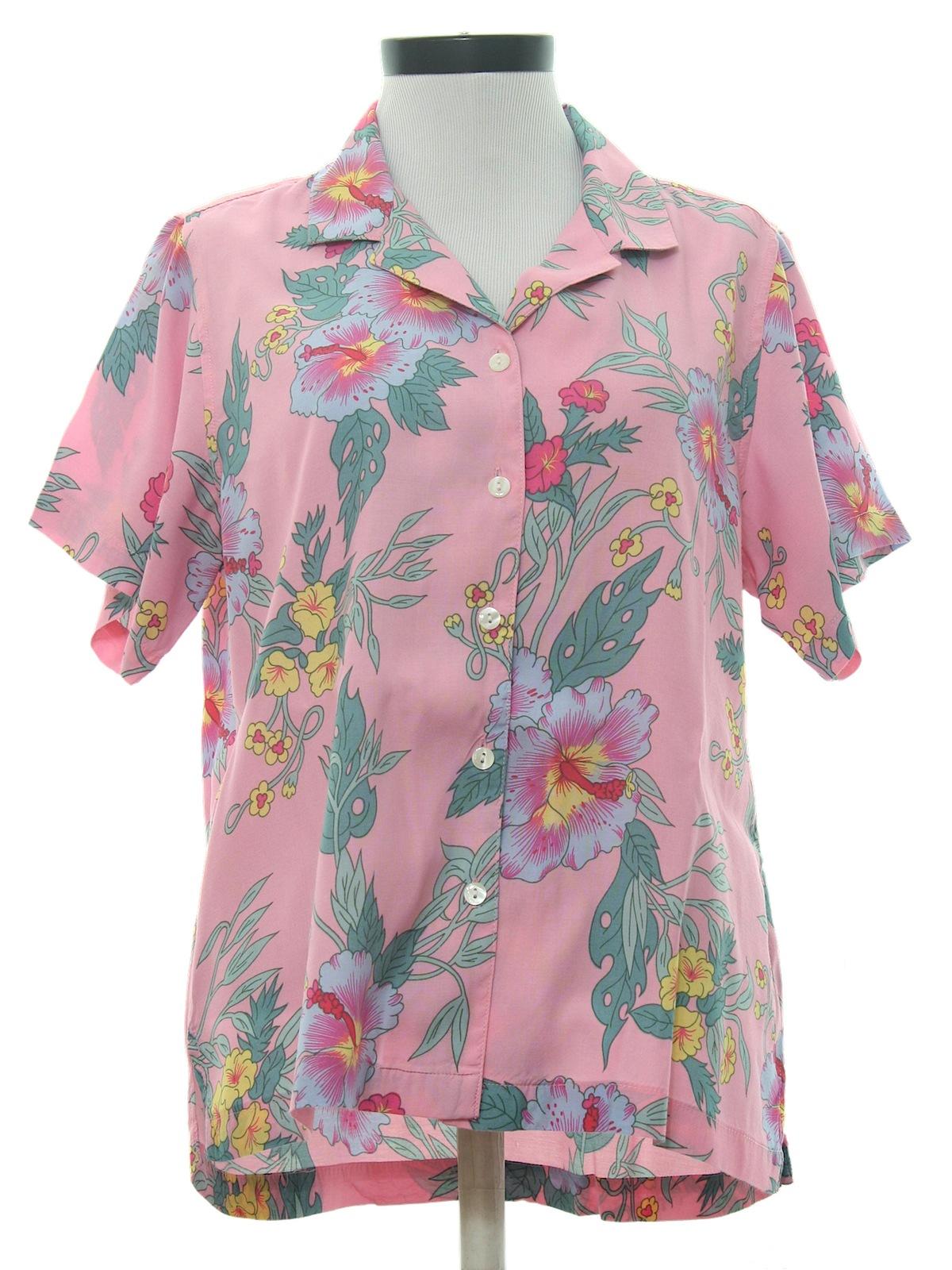 Blue pink flower blouse mightylinksfo