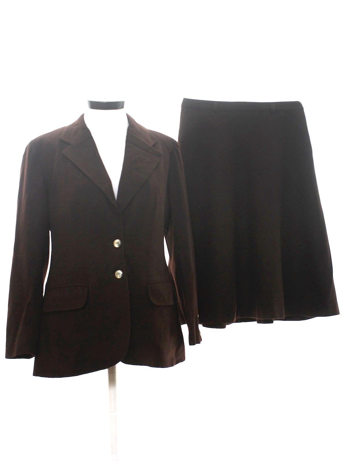 70s Suit Evan Picone 70s Evan Picone Womens Dark Brown Satin
