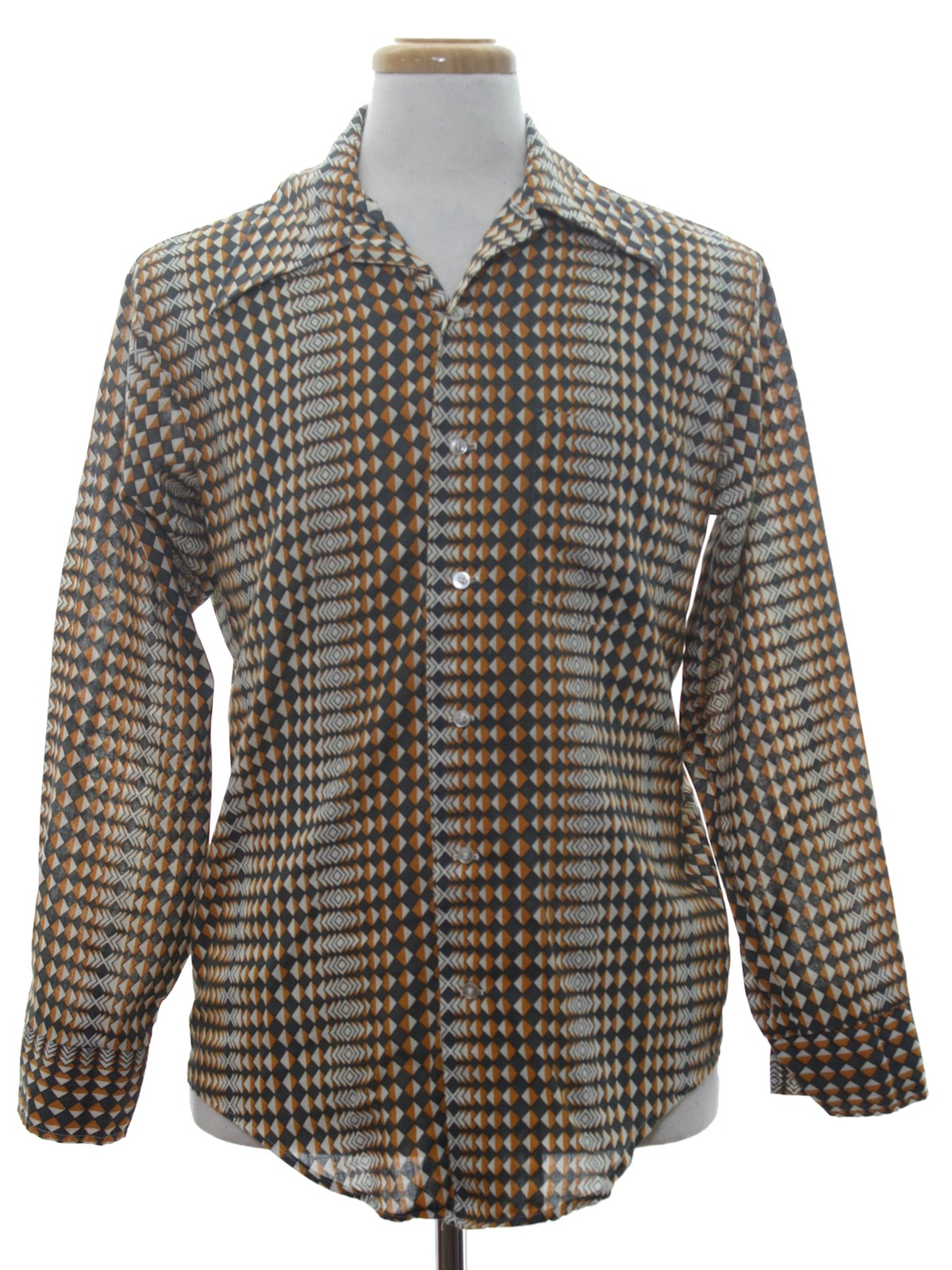 1970s kmart shirt 70s kmart mens brown and white for Kmart button up shirts