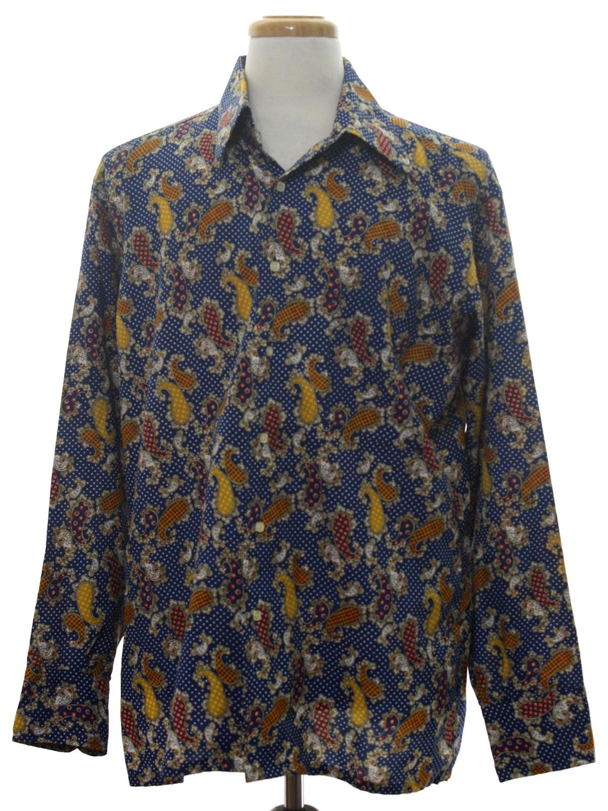 Vintage 70s print disco shirt 70s nicola mancini mens for Mens shirts with cufflink holes