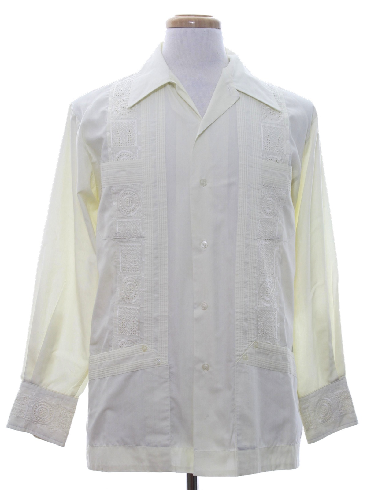 Retro 70 39 s guayabera shirt 70s sutton place mens ivory for Mens dress shirts with cufflink holes