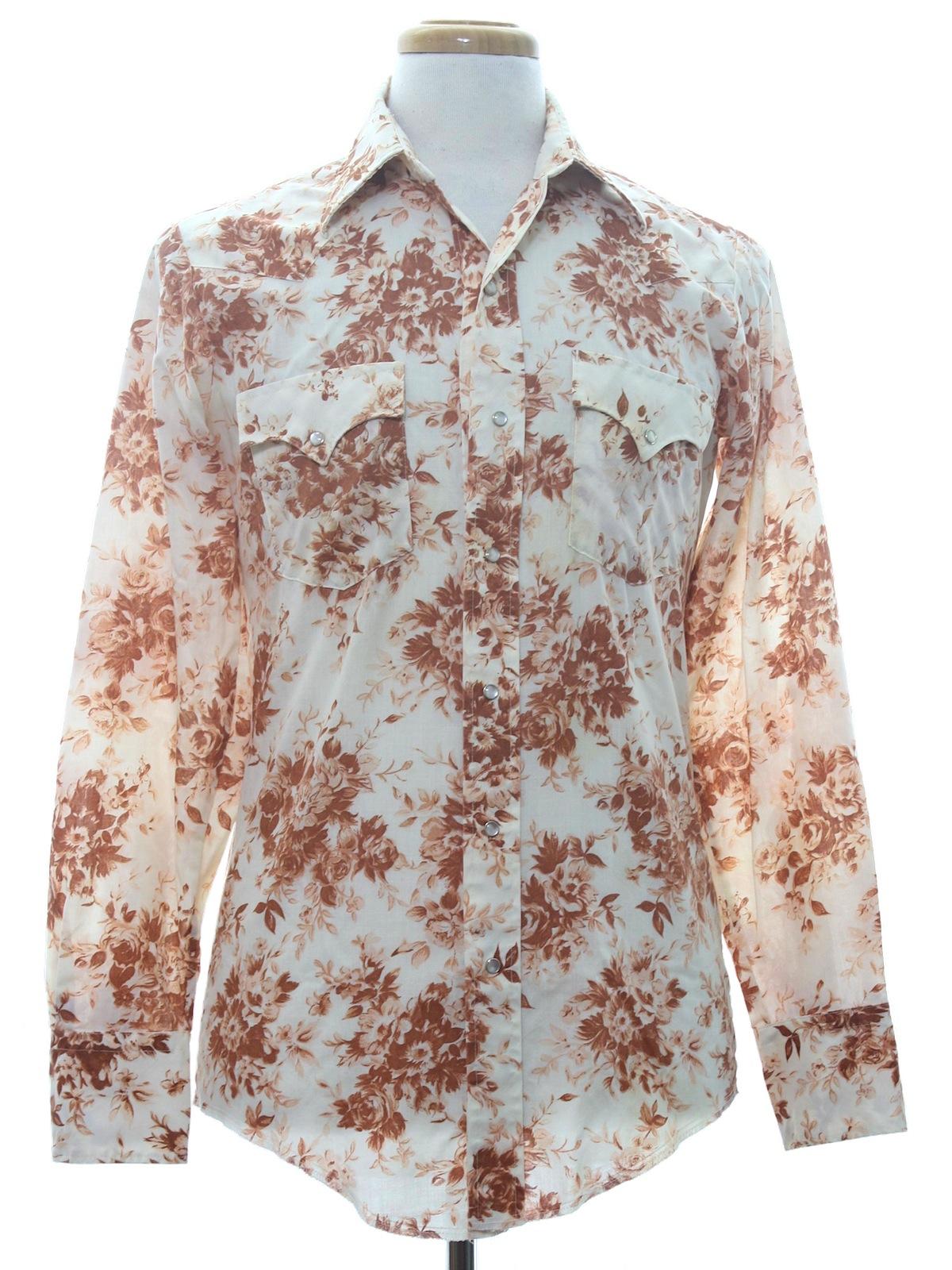 Vintage 1970s Western Shirt 70s No Label Mens Cream