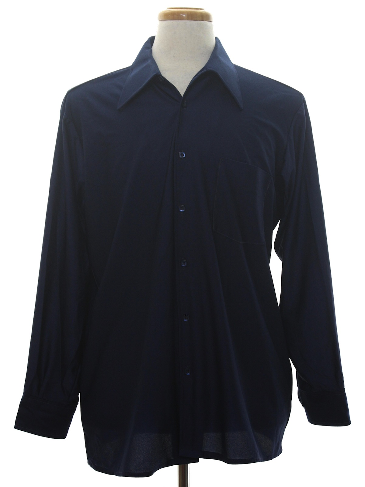 Vintage 70s disco shirt 70s qiana mens navy blue for Solid color button up shirts