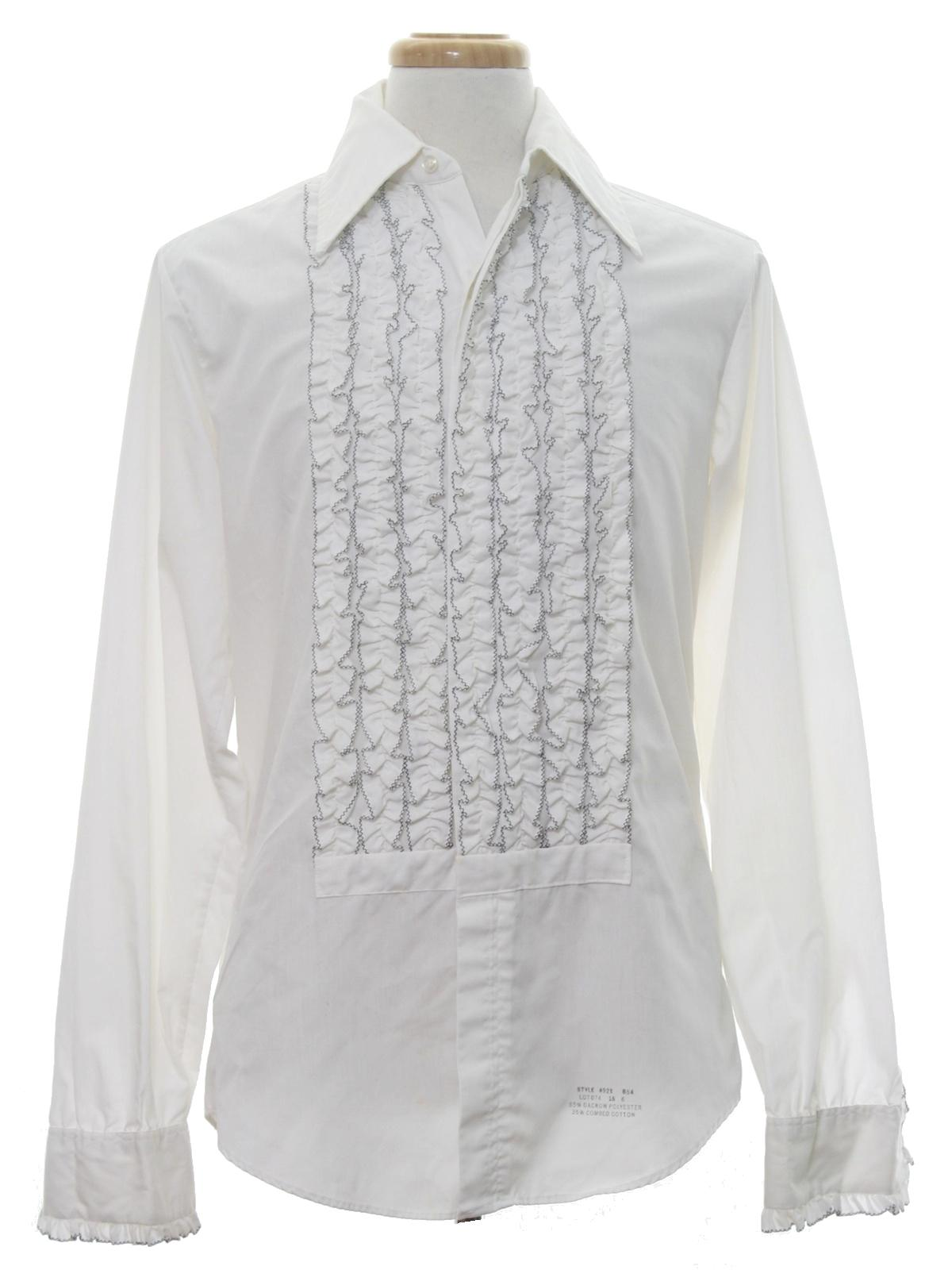 Delton 70 39 s vintage shirt 70s delton mens white cotton for Frilly shirts for men