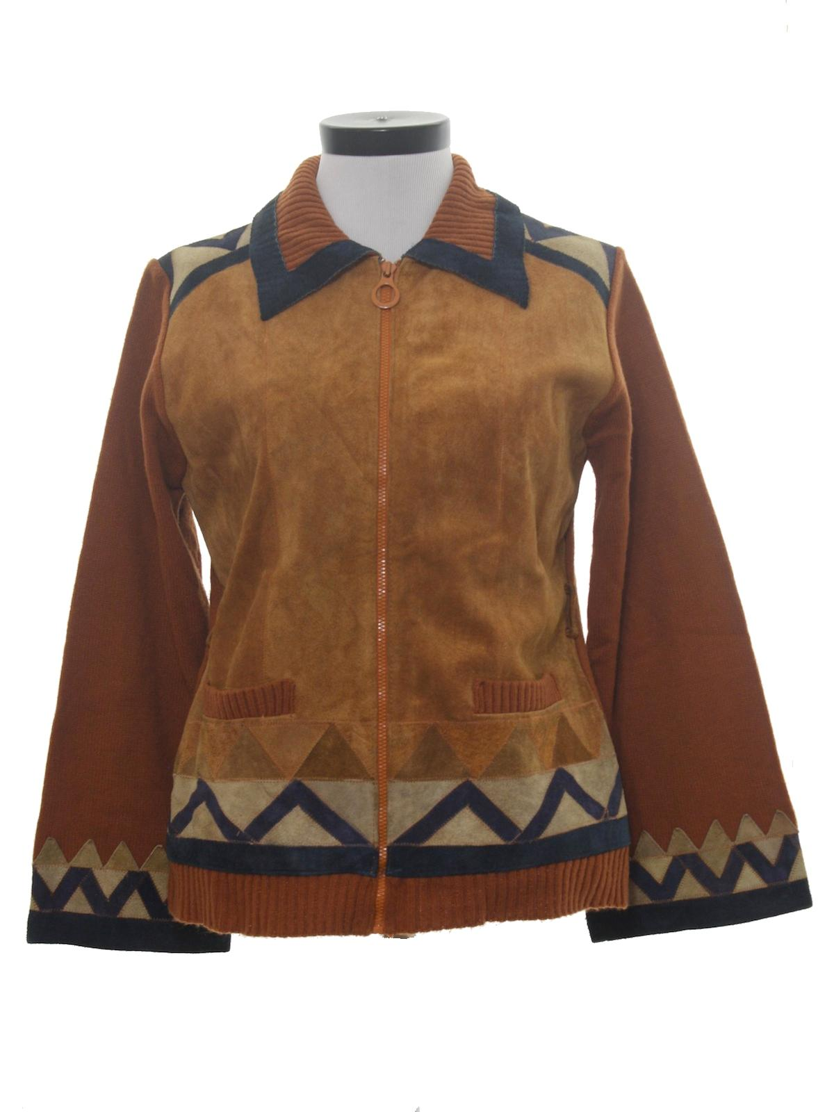 Leather jacket kmart - Kmart 1970s Vintage Leather Jacket 70s Kmart Womens Burnt Orange Acrylic Background With Soft Brown Tan And Navy Blue Suede Panels Along The Front Chest