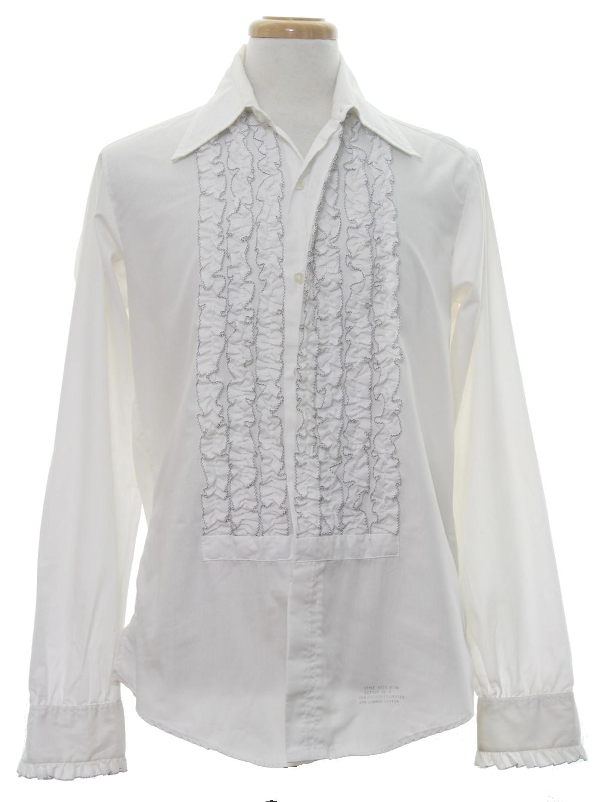 Retro 1970s shirt 70s delton mens white background for Mens dress shirts with cufflink holes
