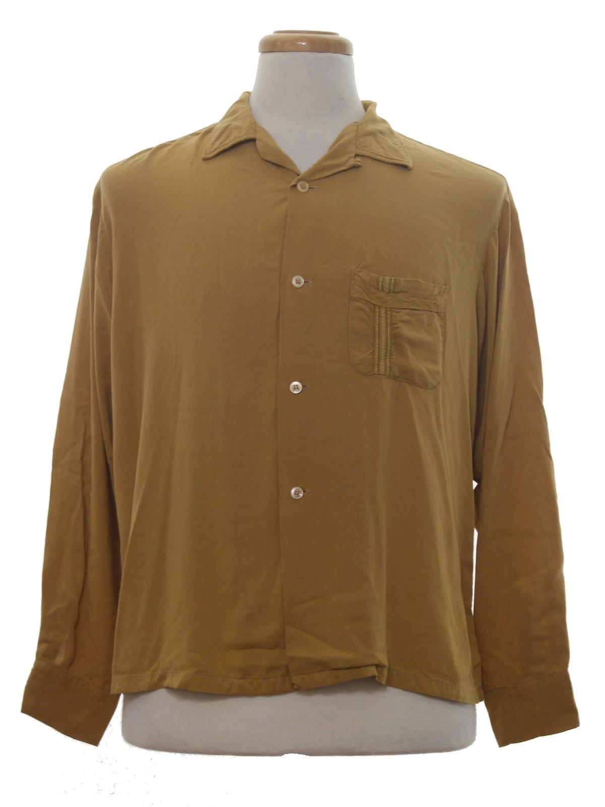 1950 39 s retro gabardine shirt 50s no label mens golden for Mens shirts with cufflink holes