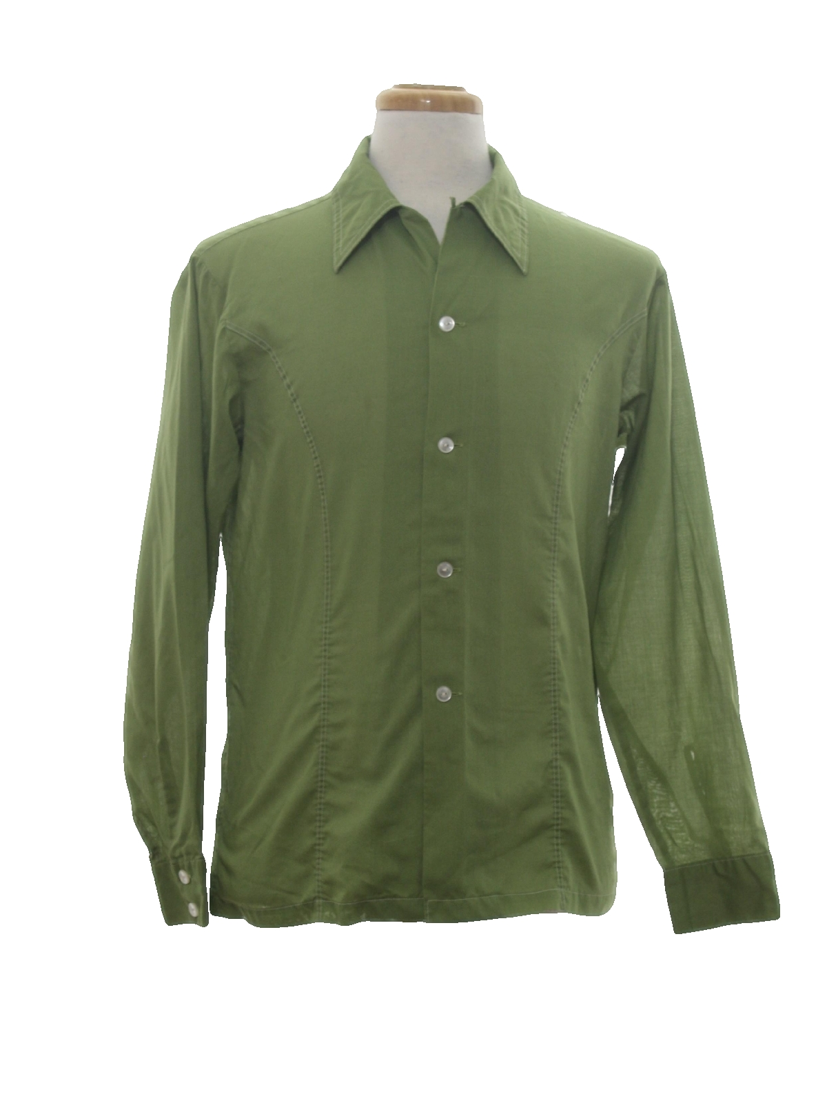 1970 39 s retro shirt 70s jayson mens avocado background for Solid color button up shirts