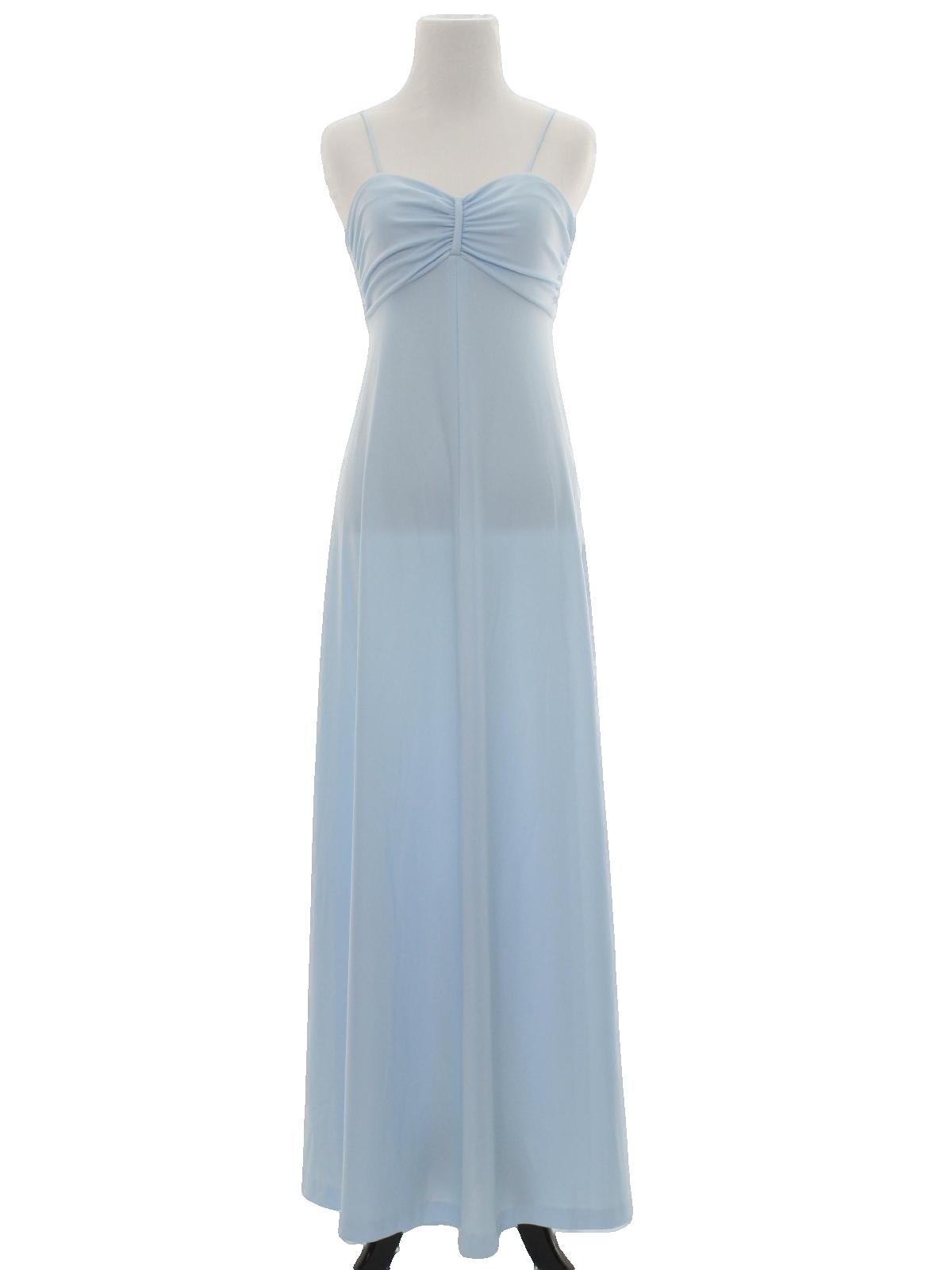 Retro 70\'s Disco Dress: 70s -care label- Womens light blue ...