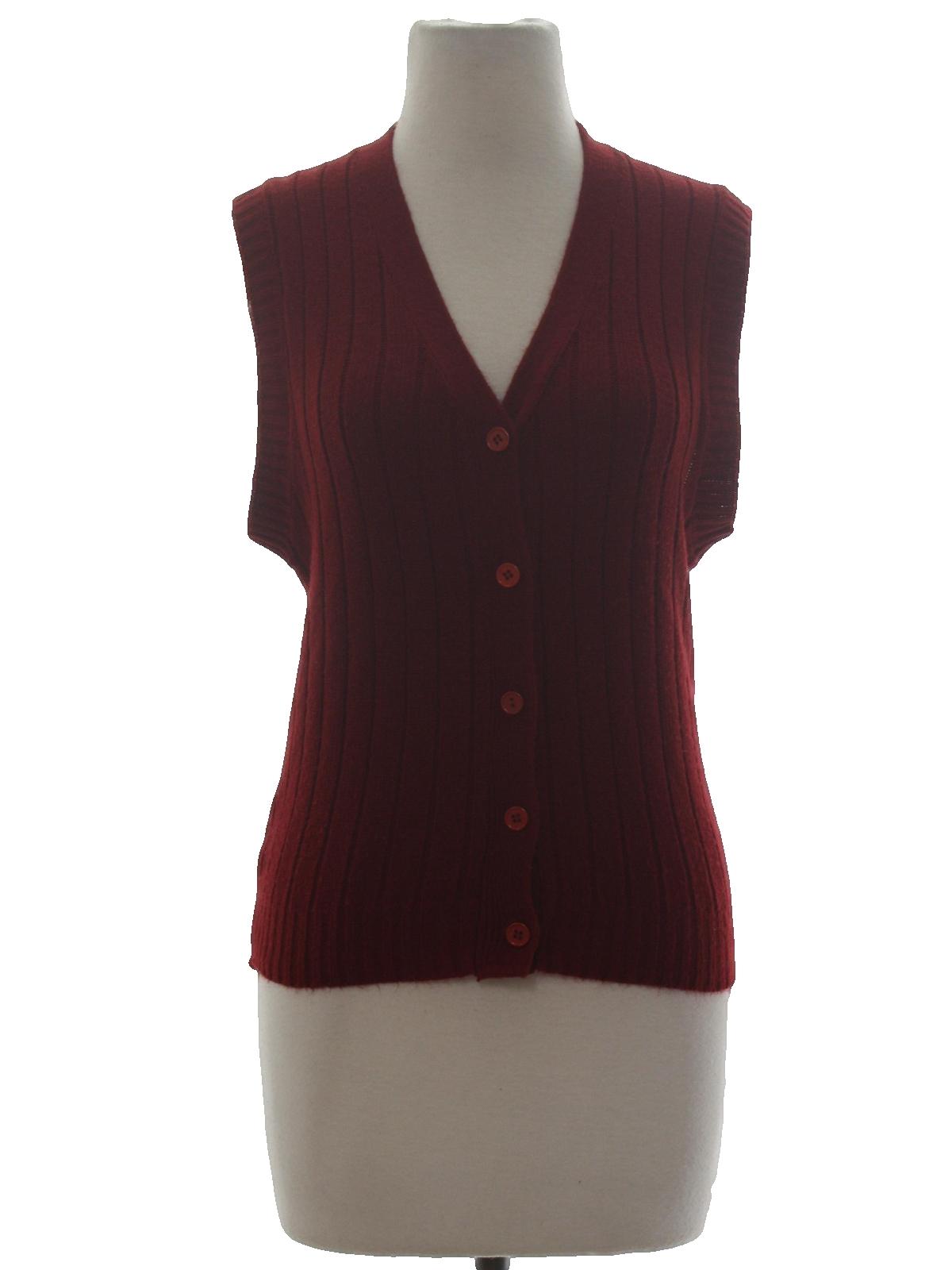 Retro 70's Sweater: 70s -Sheridan- Womens burgundy acrylic sweater ...