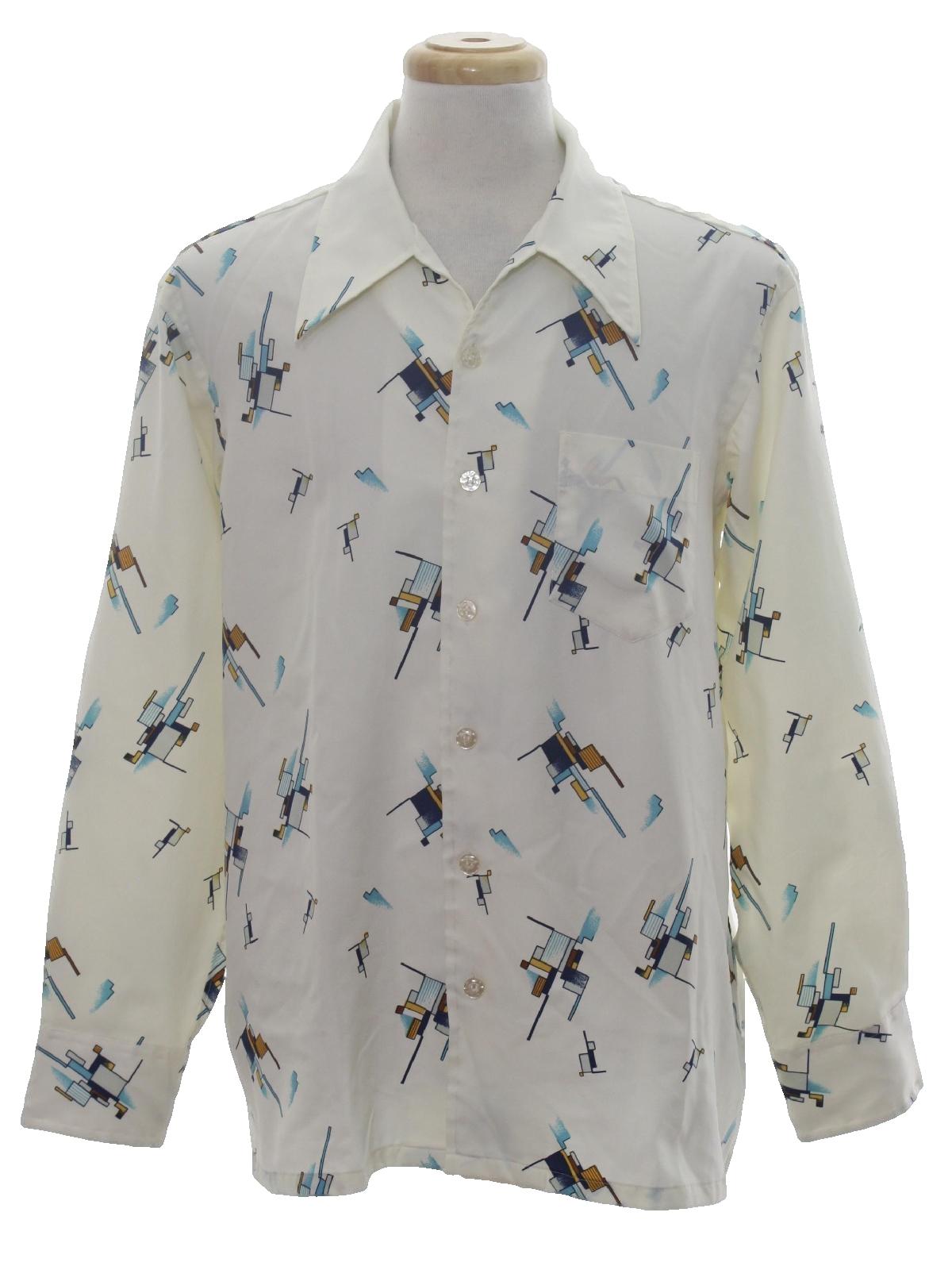 1970 39 s vintage arnold christensen print disco shirt 70s for Mens dress shirts with cufflink holes