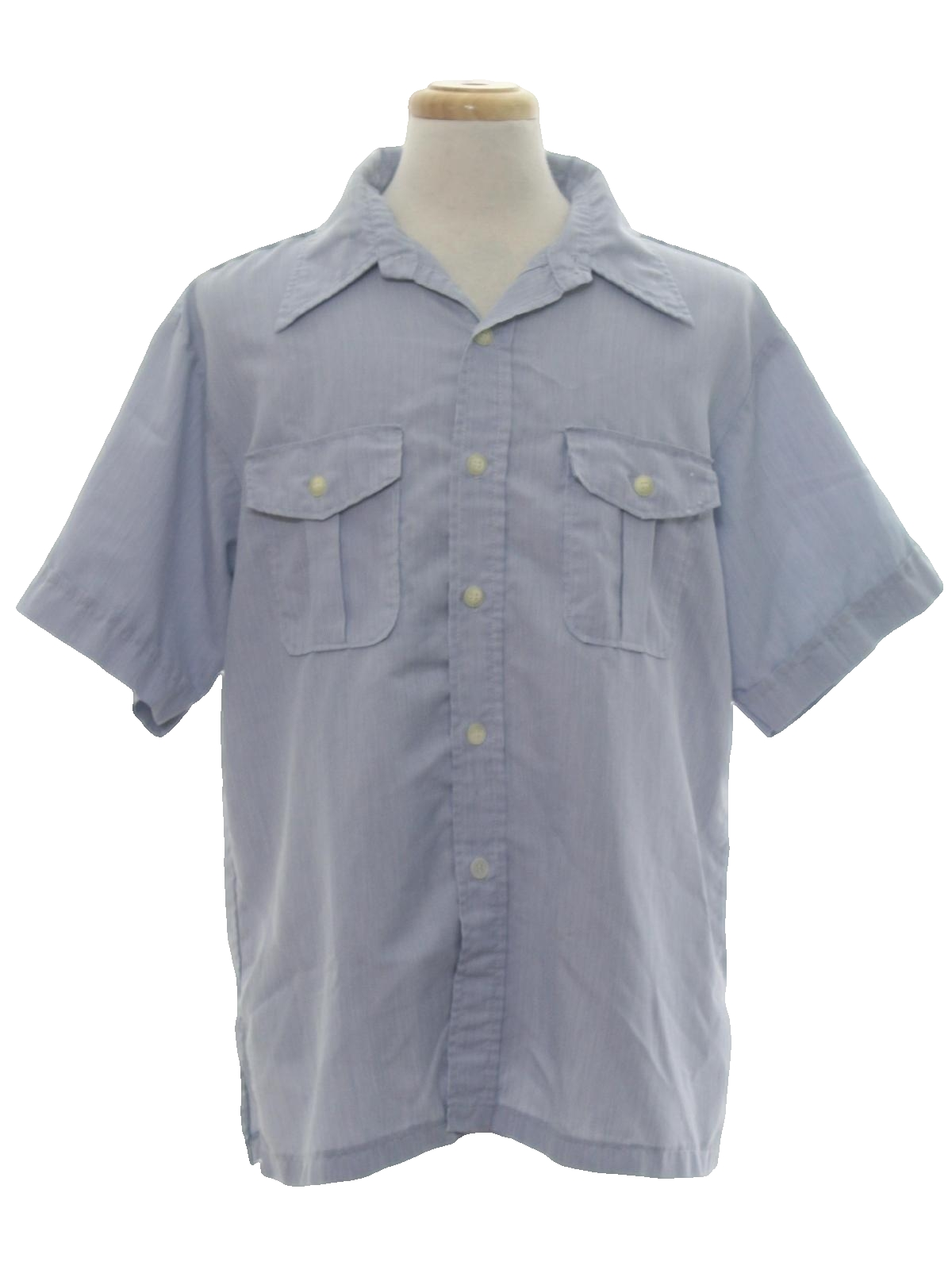 Vintage sport 70 39 s shirt late 70s sport abouts mens for Blue button up work shirt